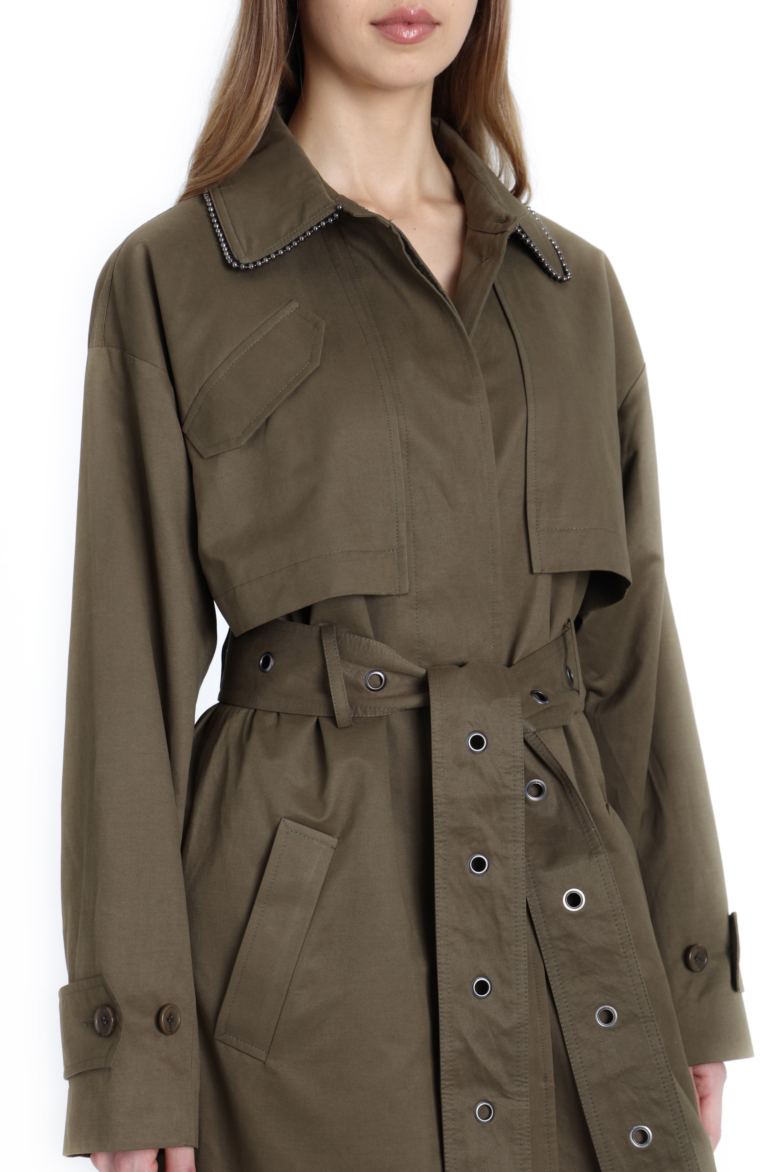 Badgley Mischka Cotton Blend Utility Trench Coat,                             Alternate thumbnail 4, color,                             301