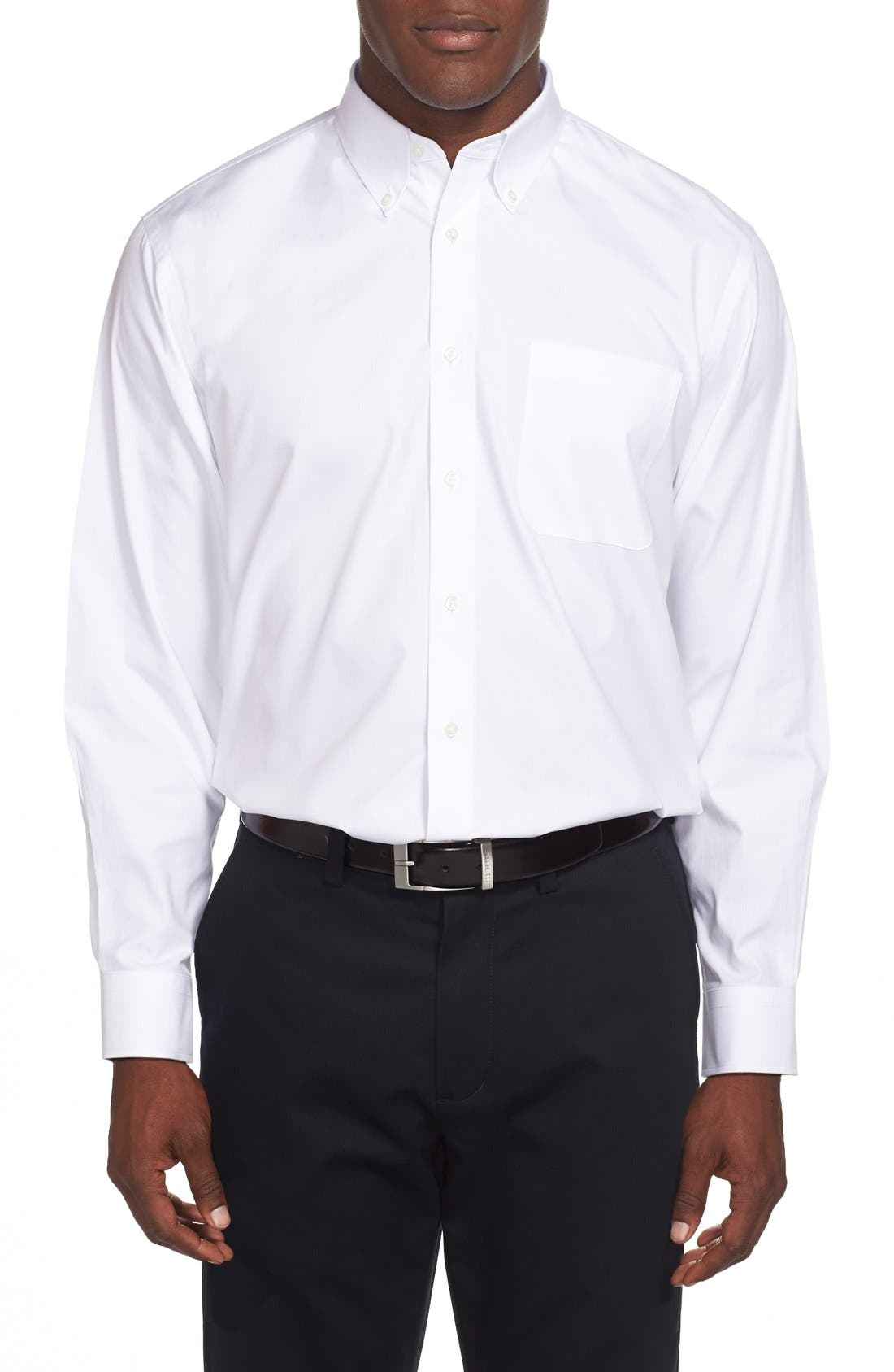 Smartcare<sup>™</sup> Traditional Fit Pinpoint Dress Shirt,                             Alternate thumbnail 3, color,                             WHITE