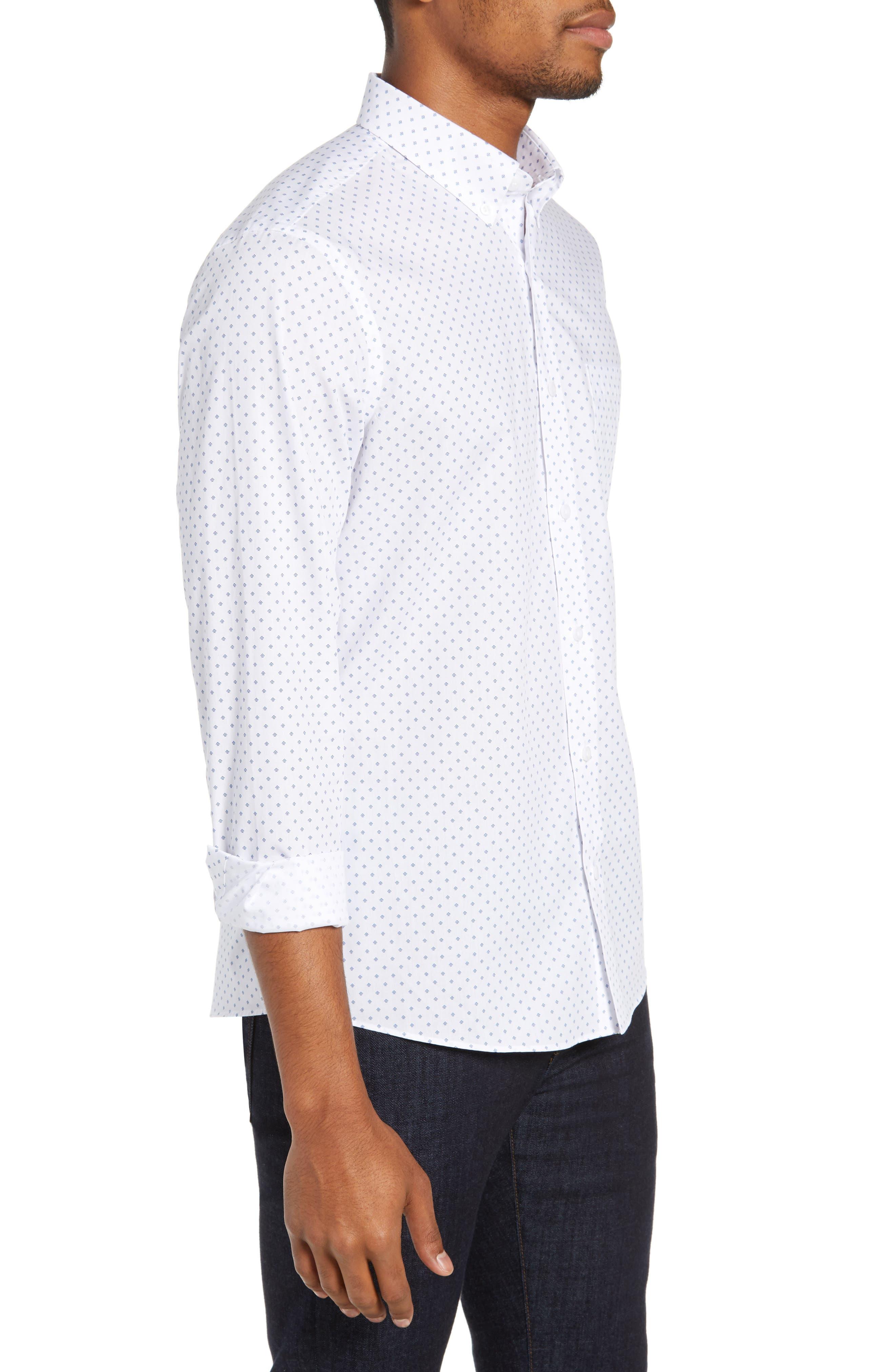 NORDSTROM MEN'S SHOP,                             Slim Fit Non-Iron Geo Print Sport Shirt,                             Alternate thumbnail 4, color,                             100