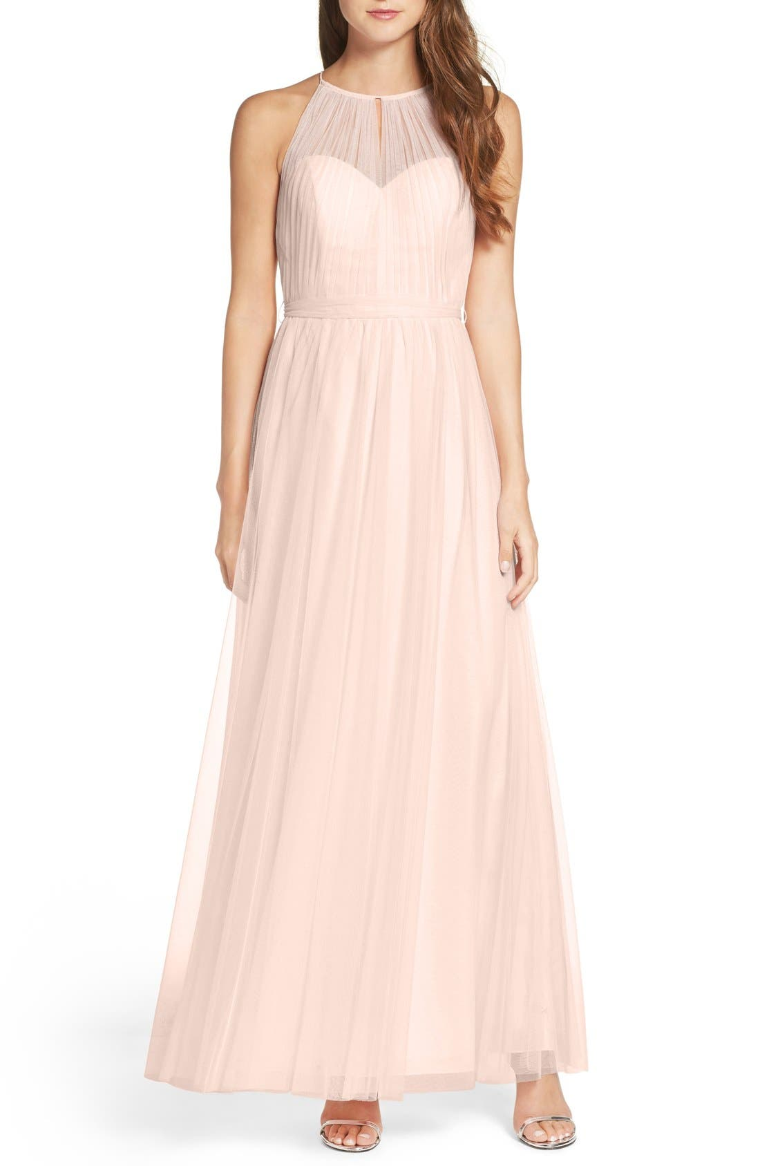 Tulle Halter Neck Gown,                             Main thumbnail 3, color,