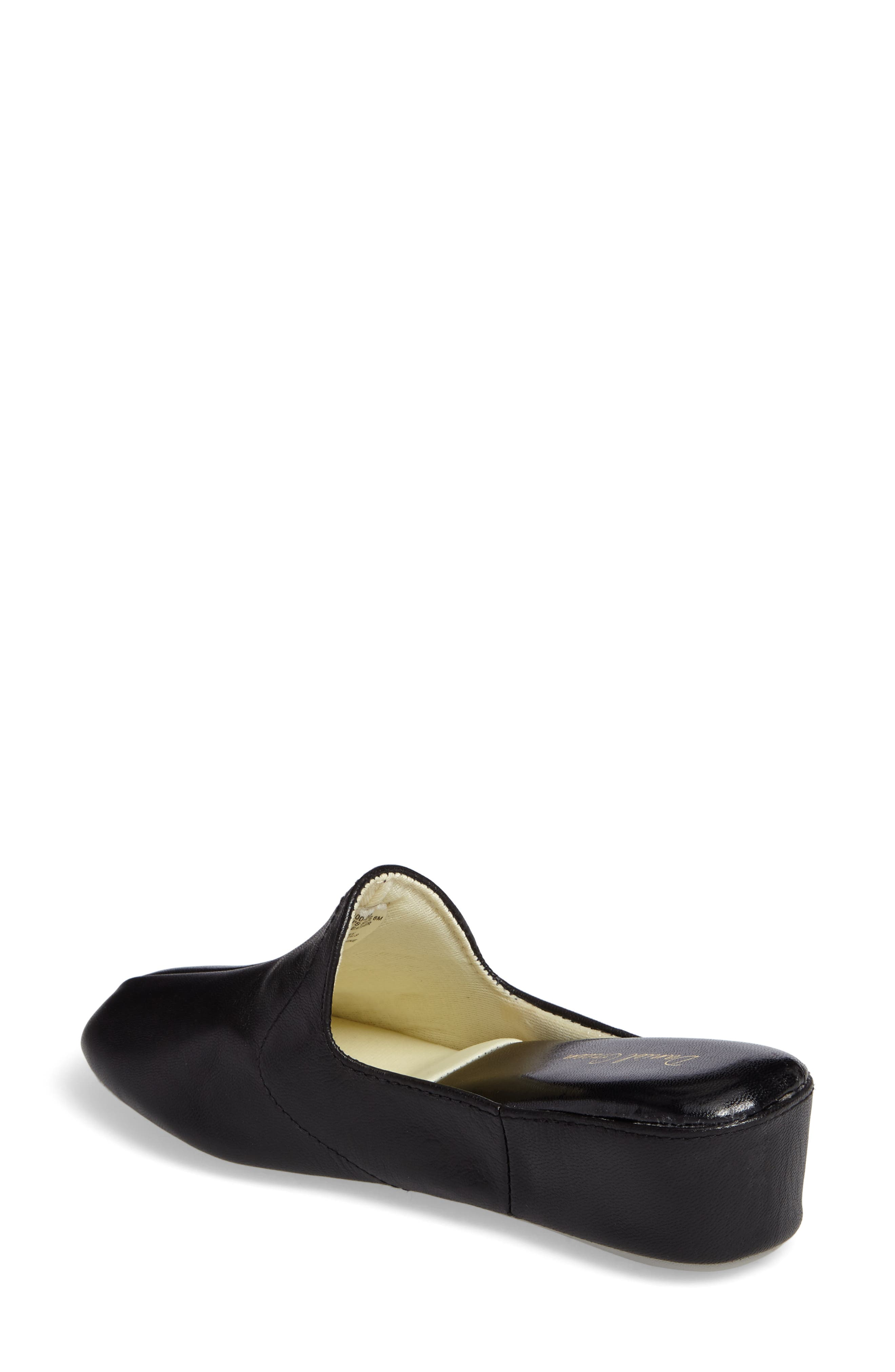 Glamour Scuff Slipper,                             Alternate thumbnail 2, color,                             BLACK LEATHER