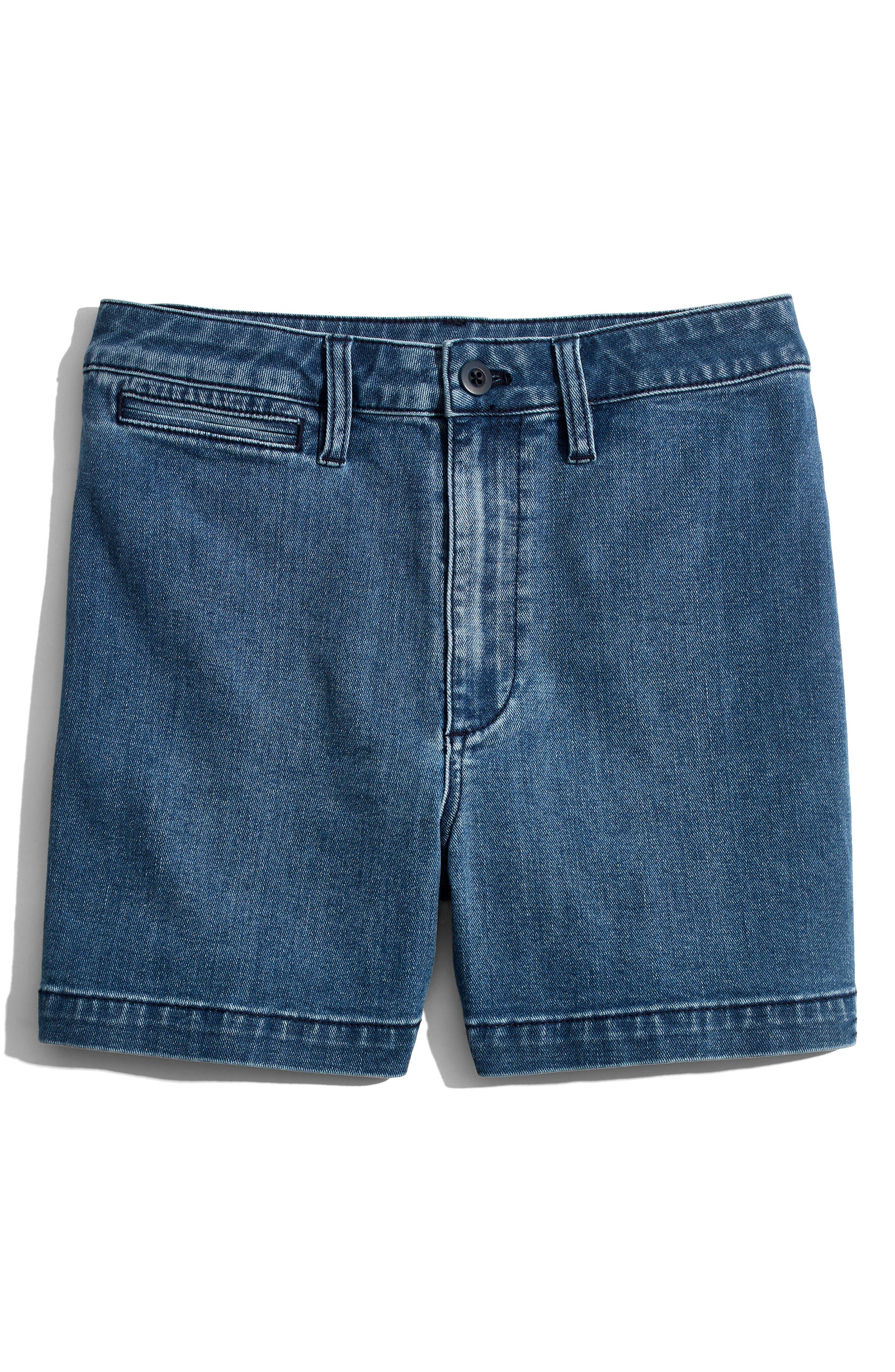 Emmett High Waist Denim Shorts,                             Alternate thumbnail 4, color,                             ROSALIE