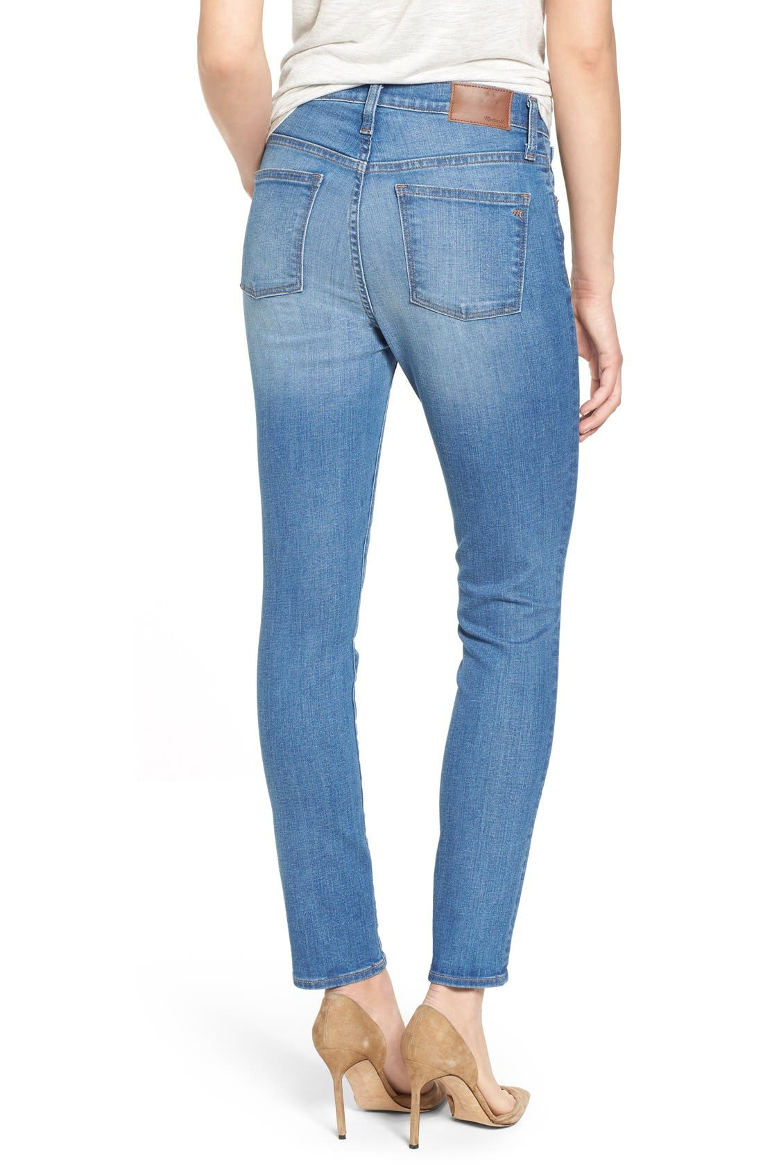'High Riser - Button Through' Crop Skinny Skinny Jeans,                             Alternate thumbnail 4, color,                             406