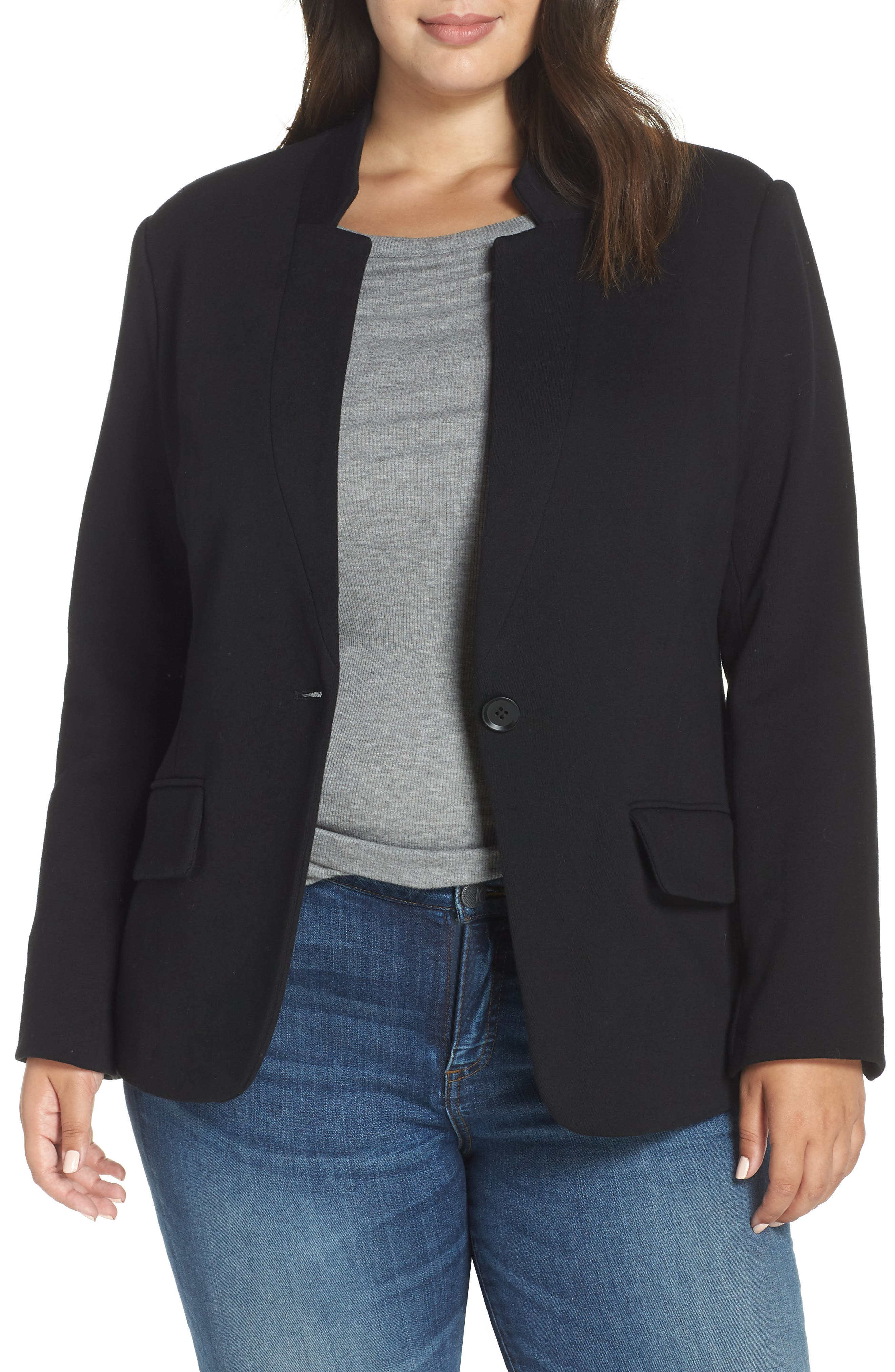 GIBSON,                             Inverted Notch Collar Cotton Blend Blazer,                             Main thumbnail 1, color,                             BLACK