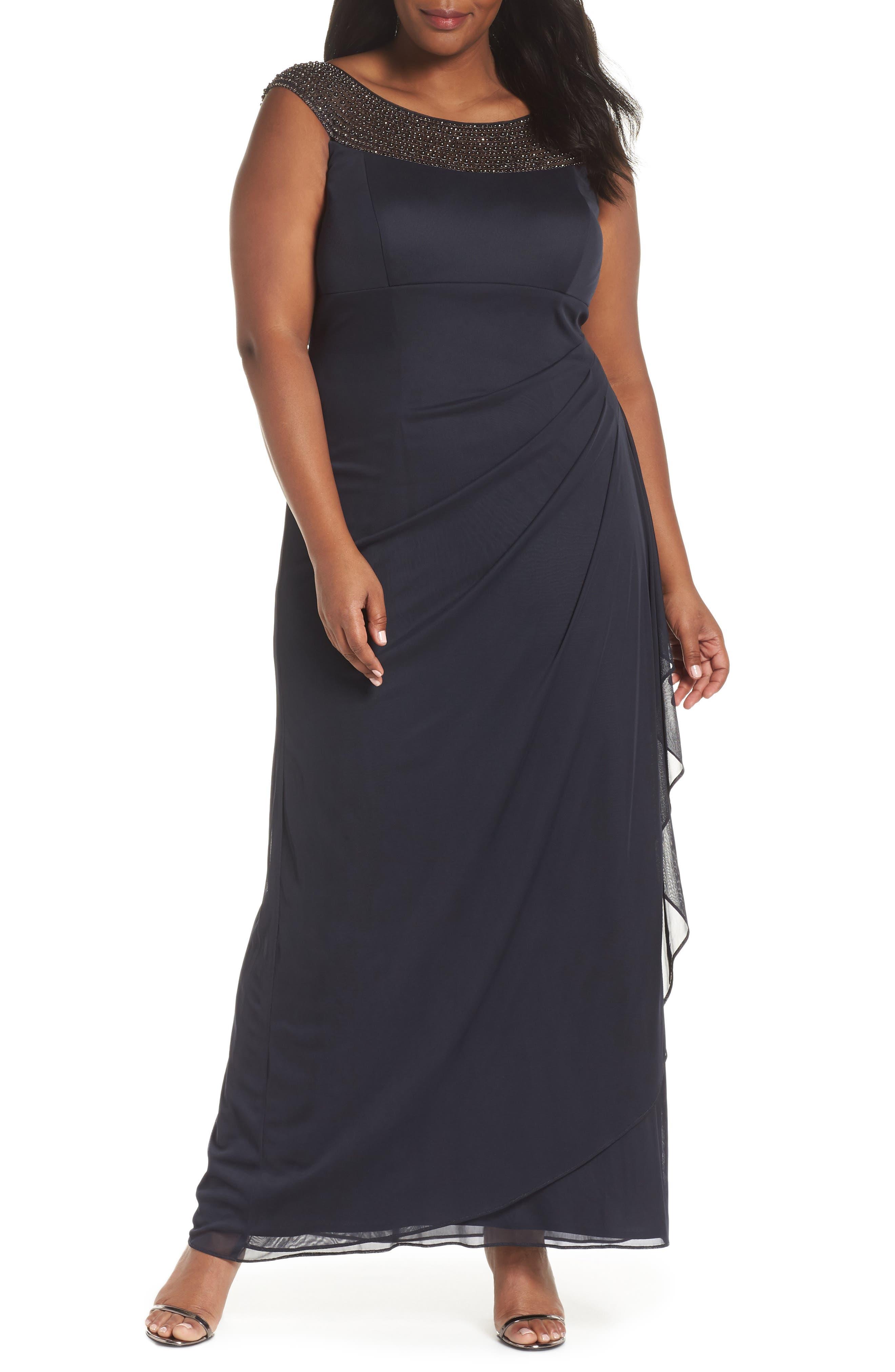 XSCAPE Beaded Yoke Gown, Main, color, 020