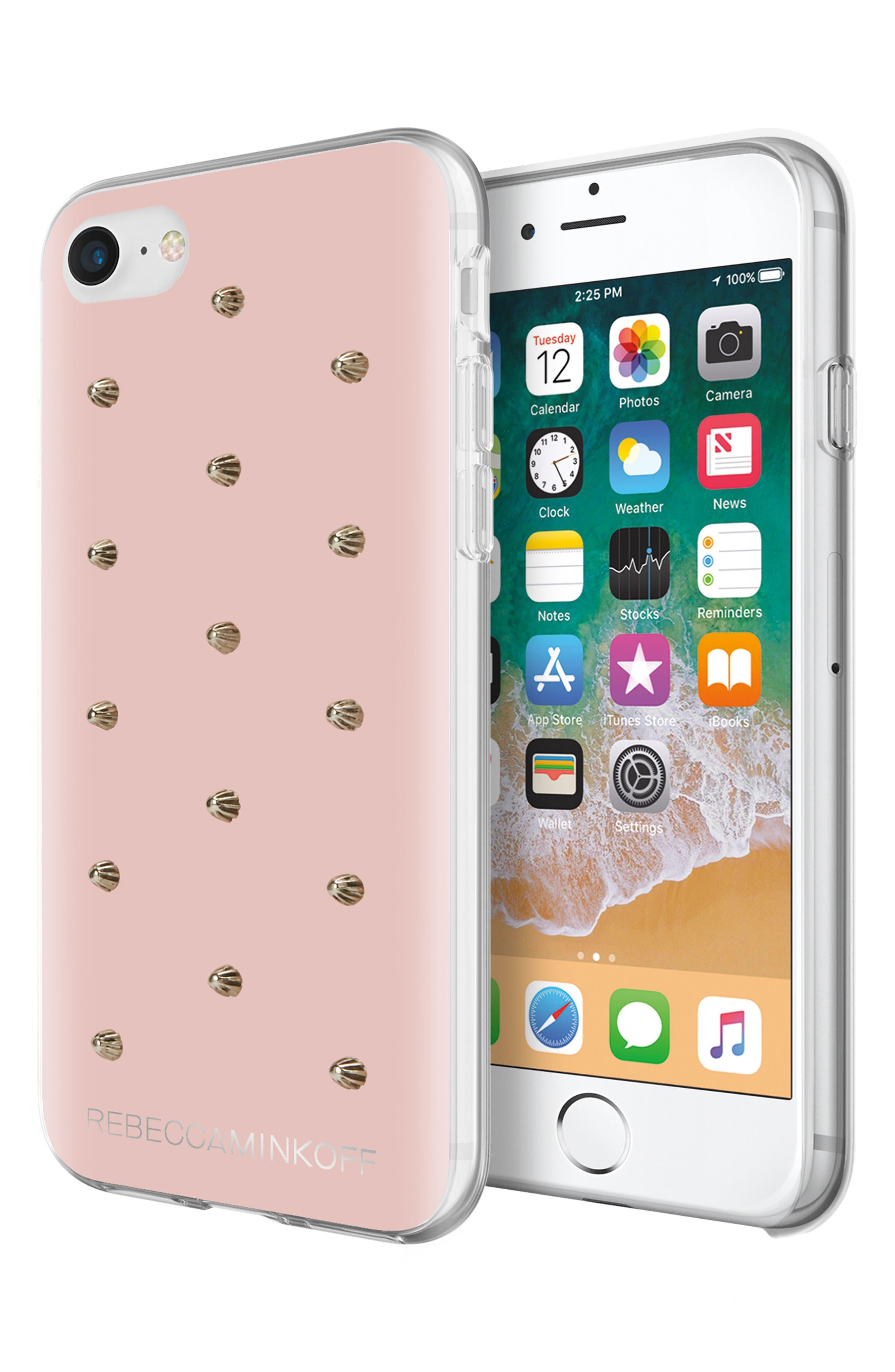 Flower Stud iPhone 7/8 & 7/8 Plus Case,                             Alternate thumbnail 4, color,                             ROSE GOLD/ GOLD STUDS