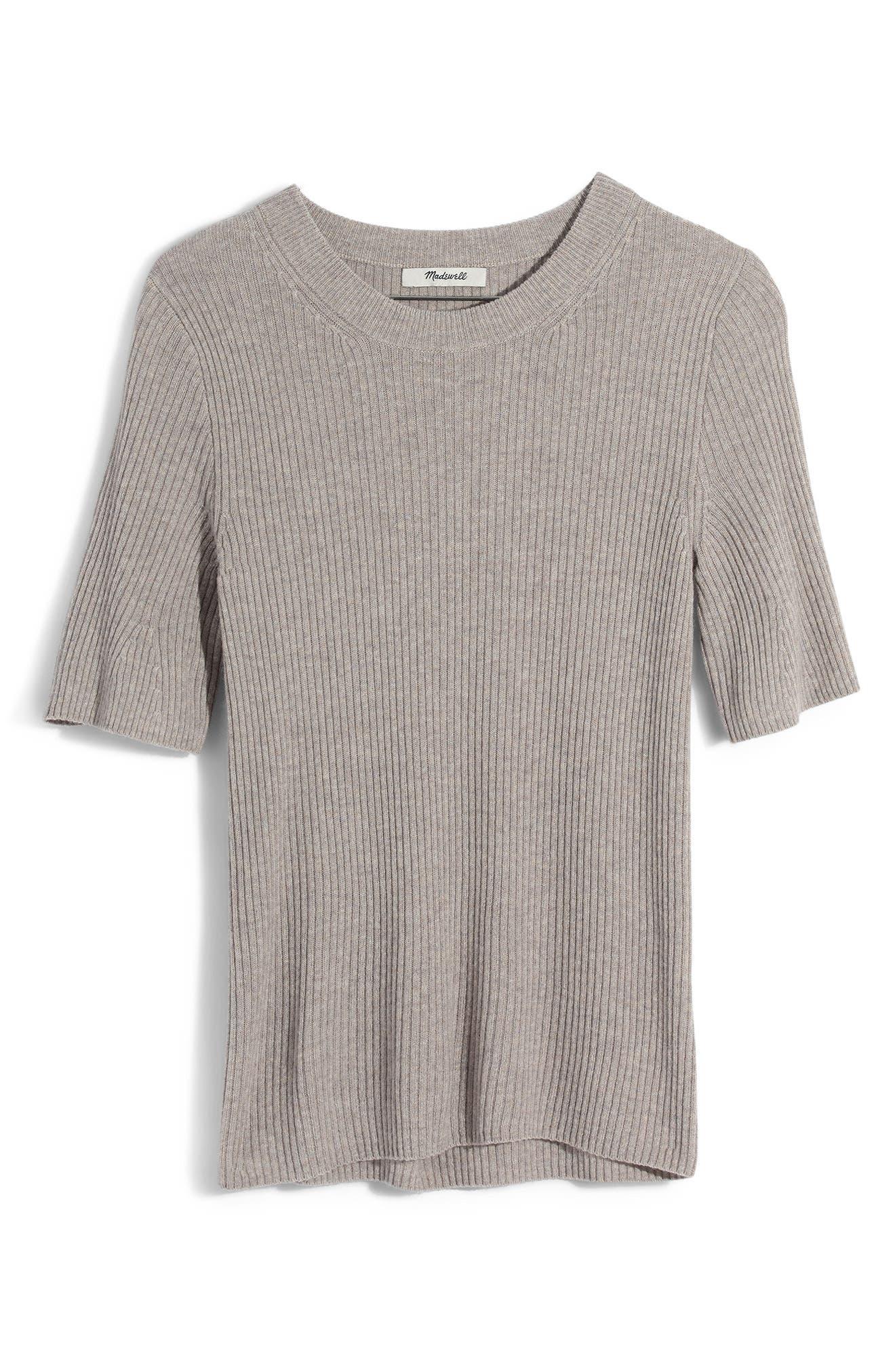 Flounce Sleeve Ribbed Sweater Tee,                             Main thumbnail 1, color,                             021