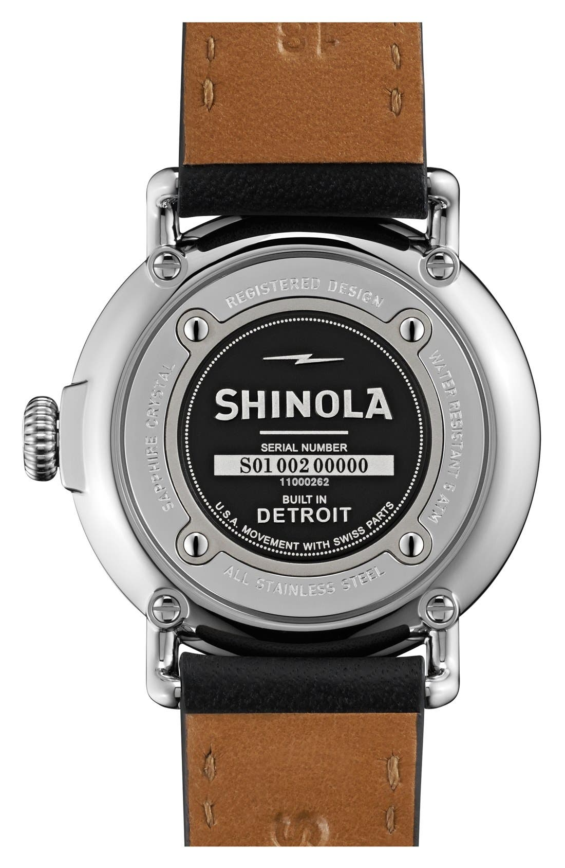 SHINOLA,                             The Runwell Leather Strap Watch, 36mm,                             Alternate thumbnail 2, color,                             001