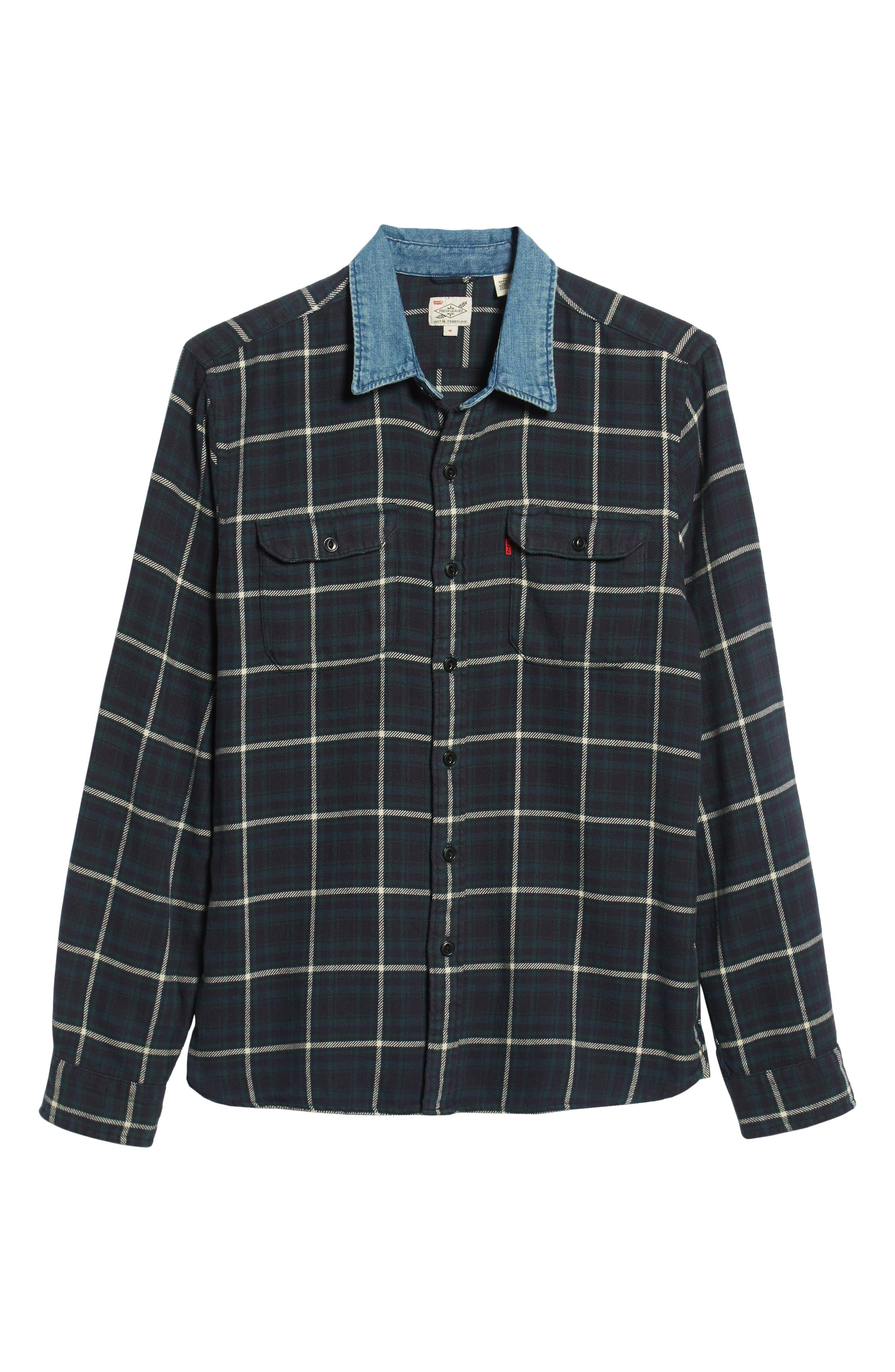 x Justin Timberlake Slim Fit Flannel Worker Shirt,                             Alternate thumbnail 7, color,                             HALLET NIGHT SKY