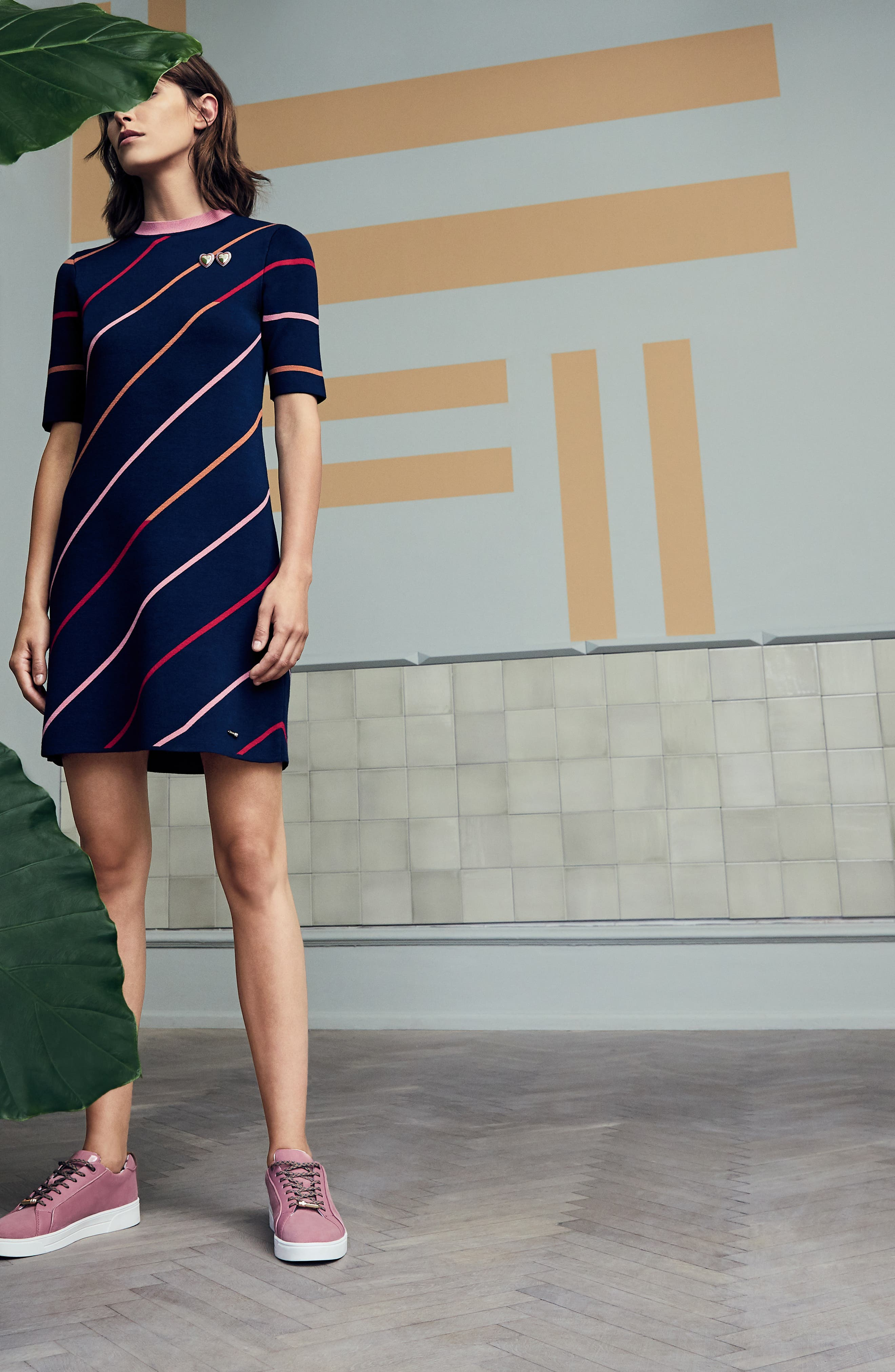 Colour by Numbers Pelinor Stripe Dress,                             Alternate thumbnail 8, color,                             410