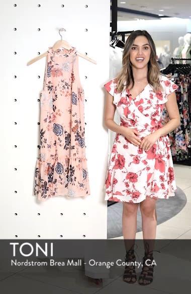 Floral Ruffle Neck Chiffon Shift Dress, sales video thumbnail