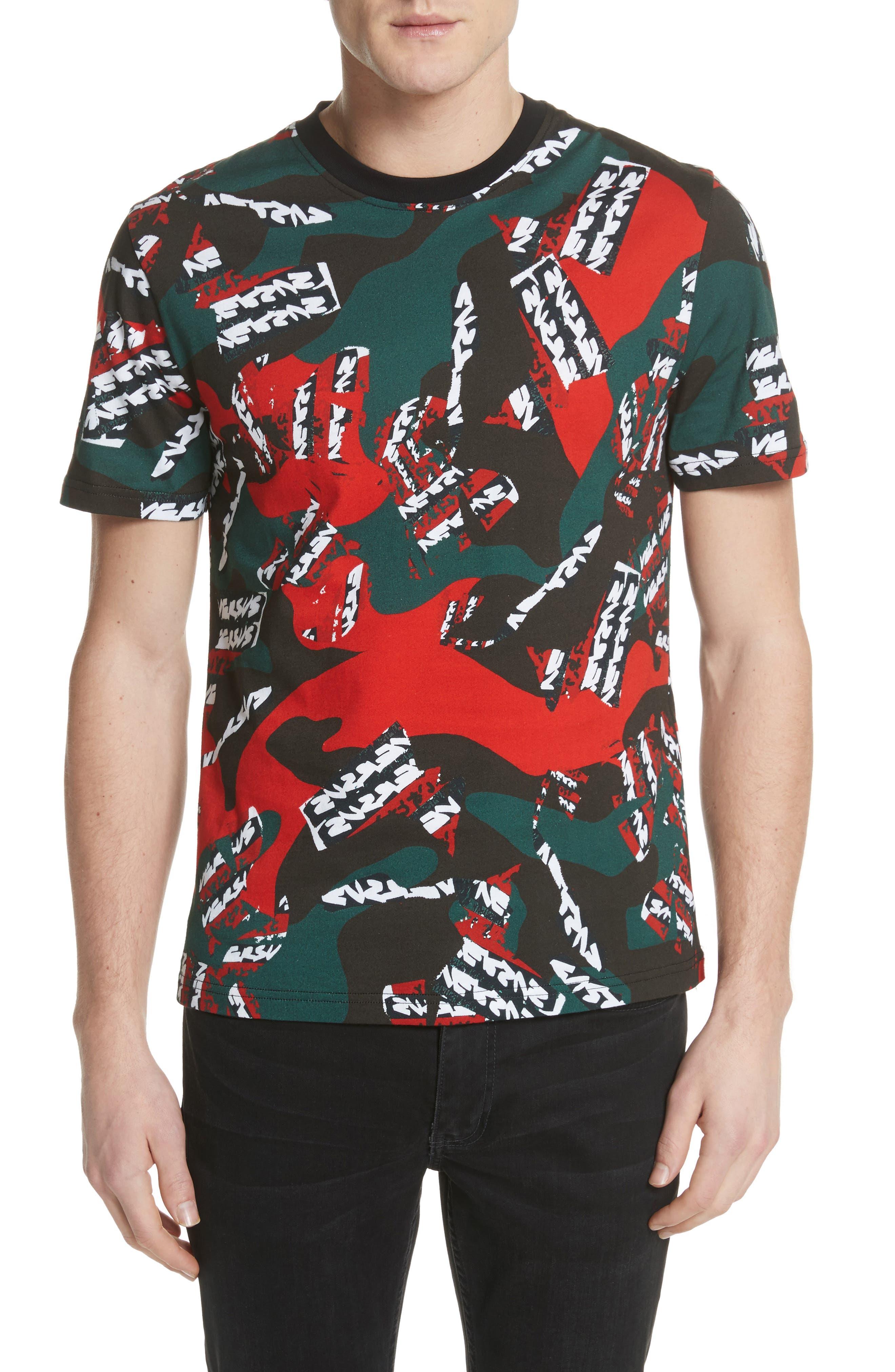 VERSUS by Versace Camo T-Shirt,                             Main thumbnail 1, color,                             626