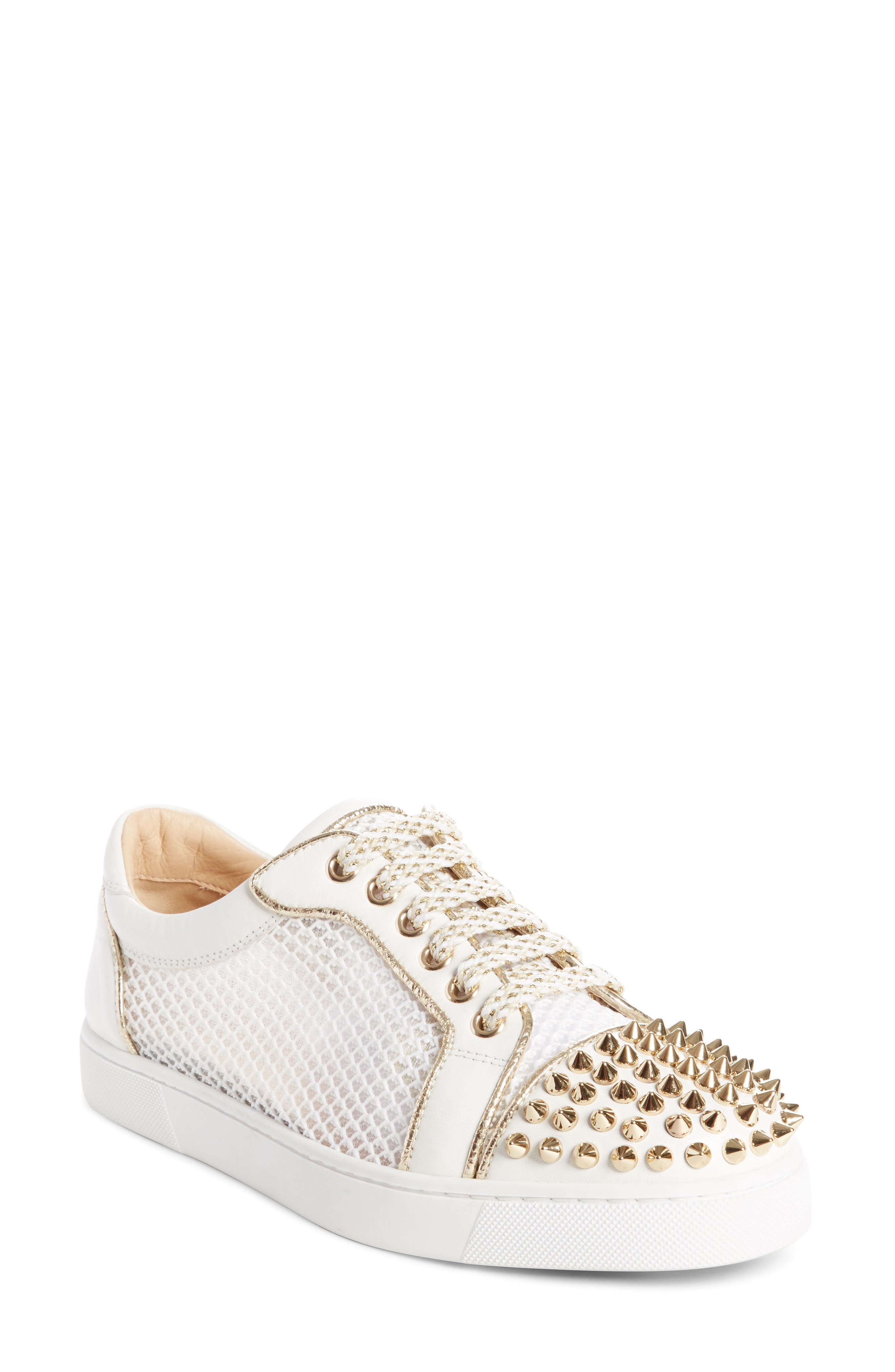 Vieira Spiked Low Top Sneaker,                         Main,                         color, LATTE/ LIGHT GOLD
