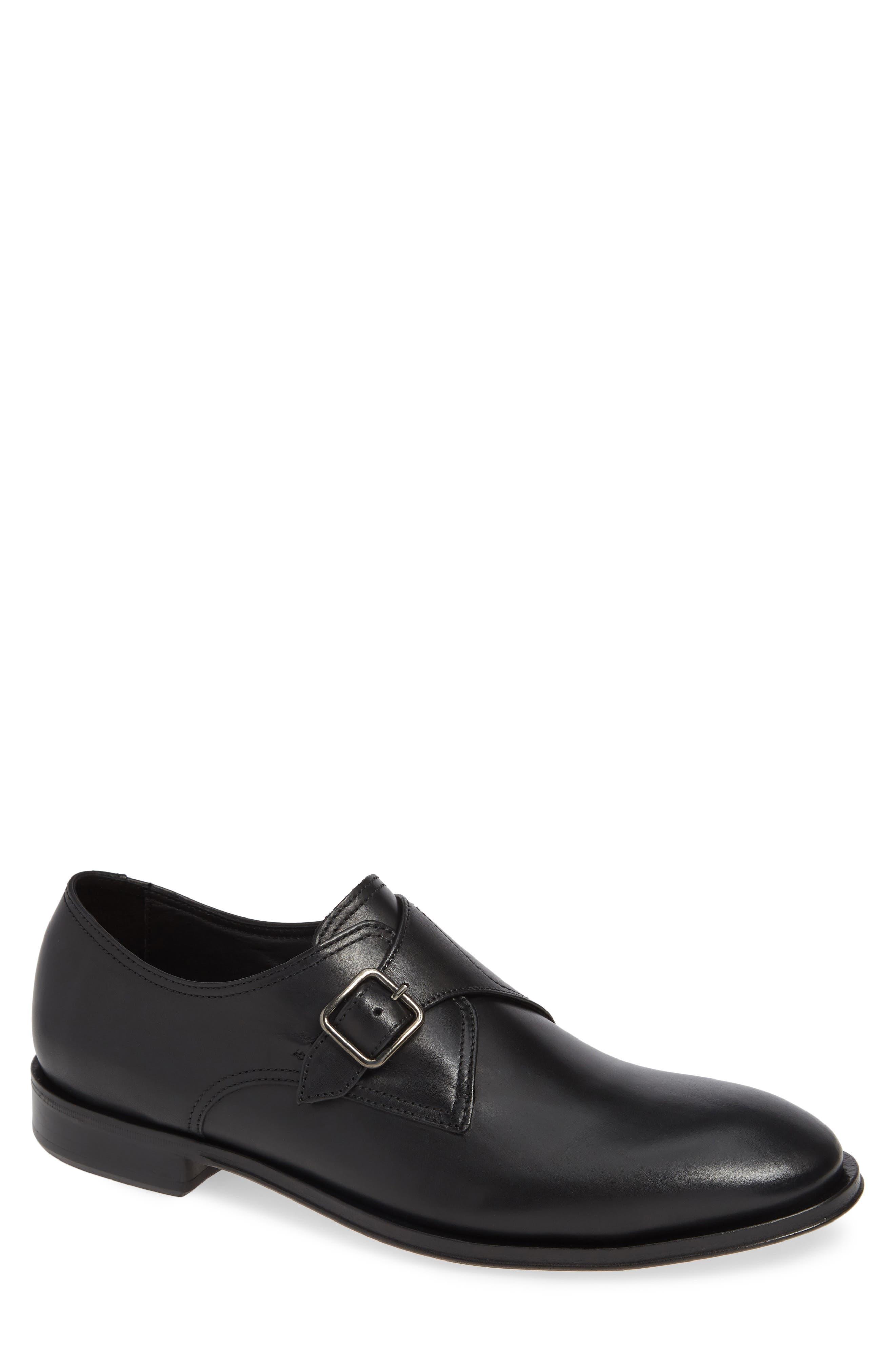Umbria Monk Strap Shoe,                             Main thumbnail 1, color,                             BLACK LEATHER