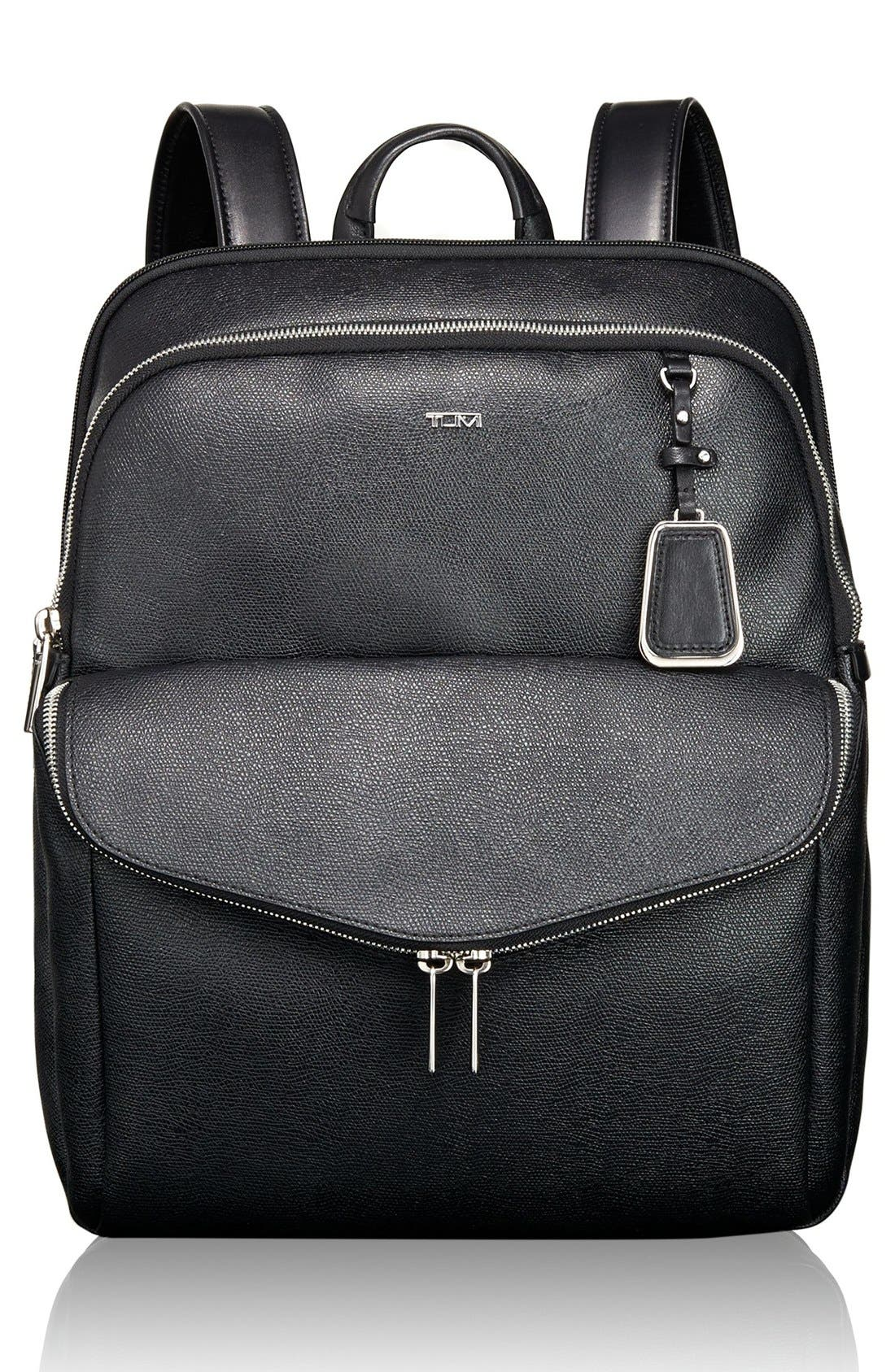 'Sinclair Harlow' Coated Canvas Laptop Backpack,                             Main thumbnail 1, color,                             002
