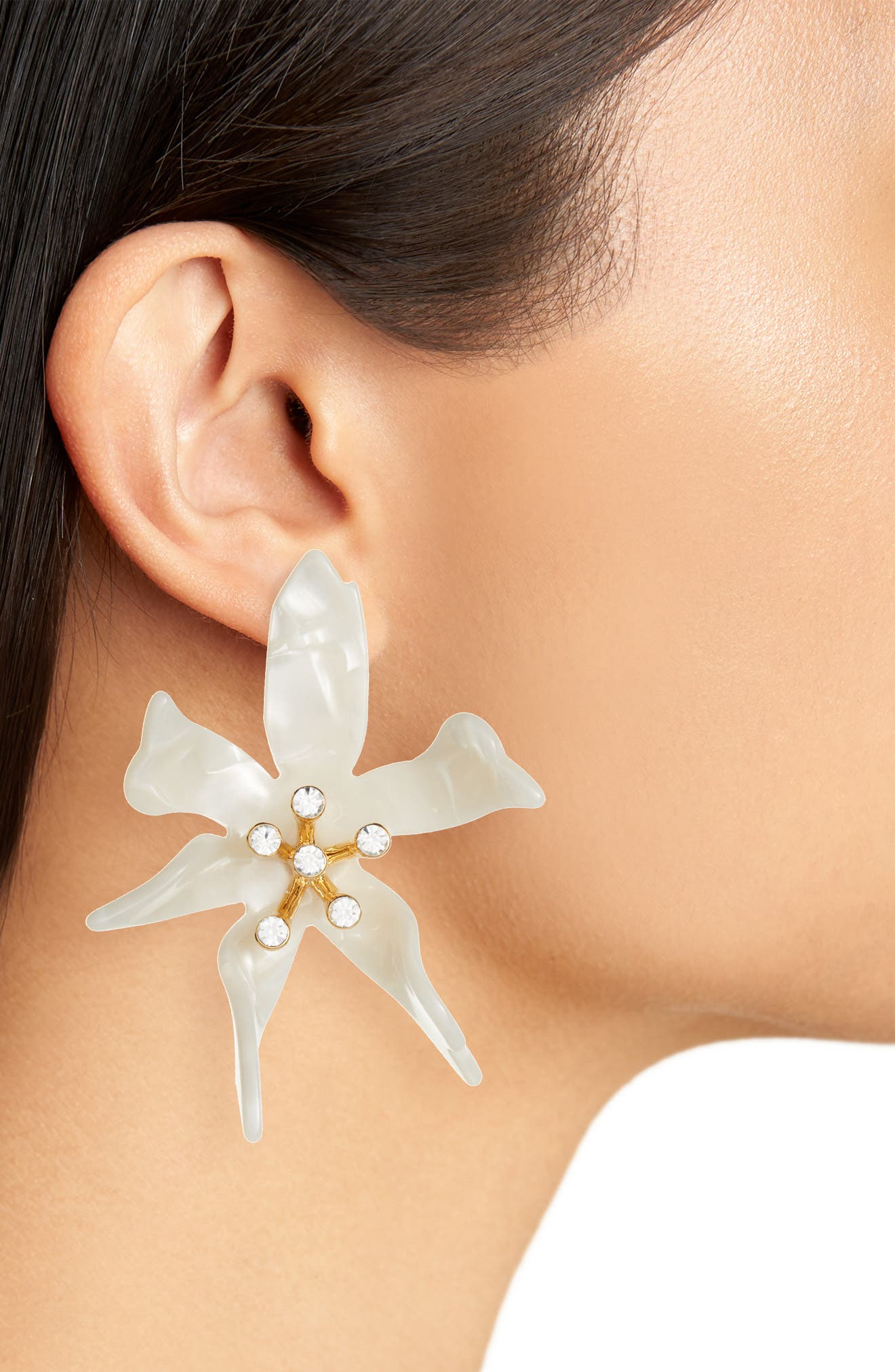 Oversized Water Lily Crystal Earrings,                             Alternate thumbnail 2, color,                             MOTHER OF PEARL