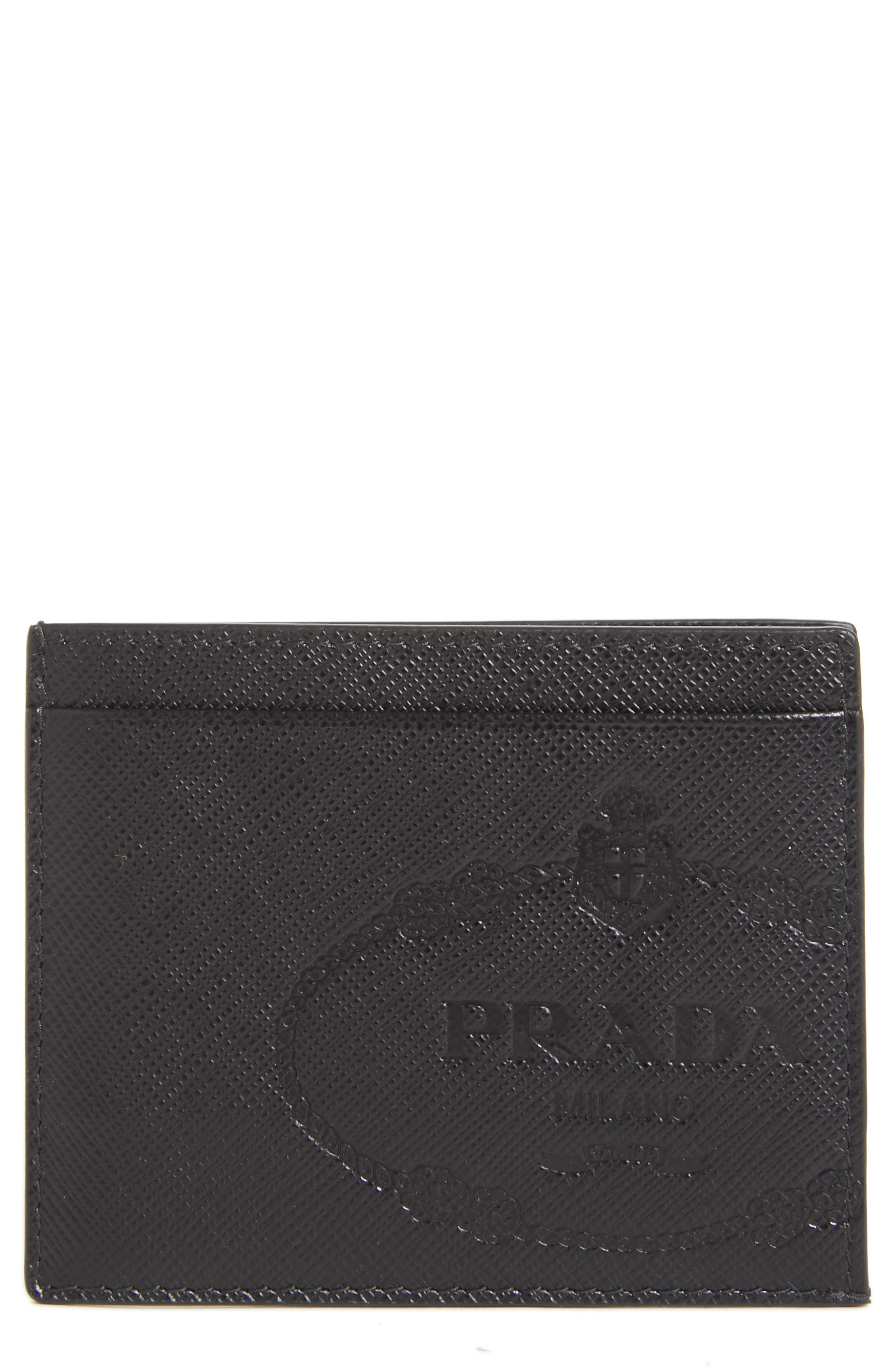 Logo Saffiano Leather Card Case,                             Main thumbnail 1, color,                             BLACK