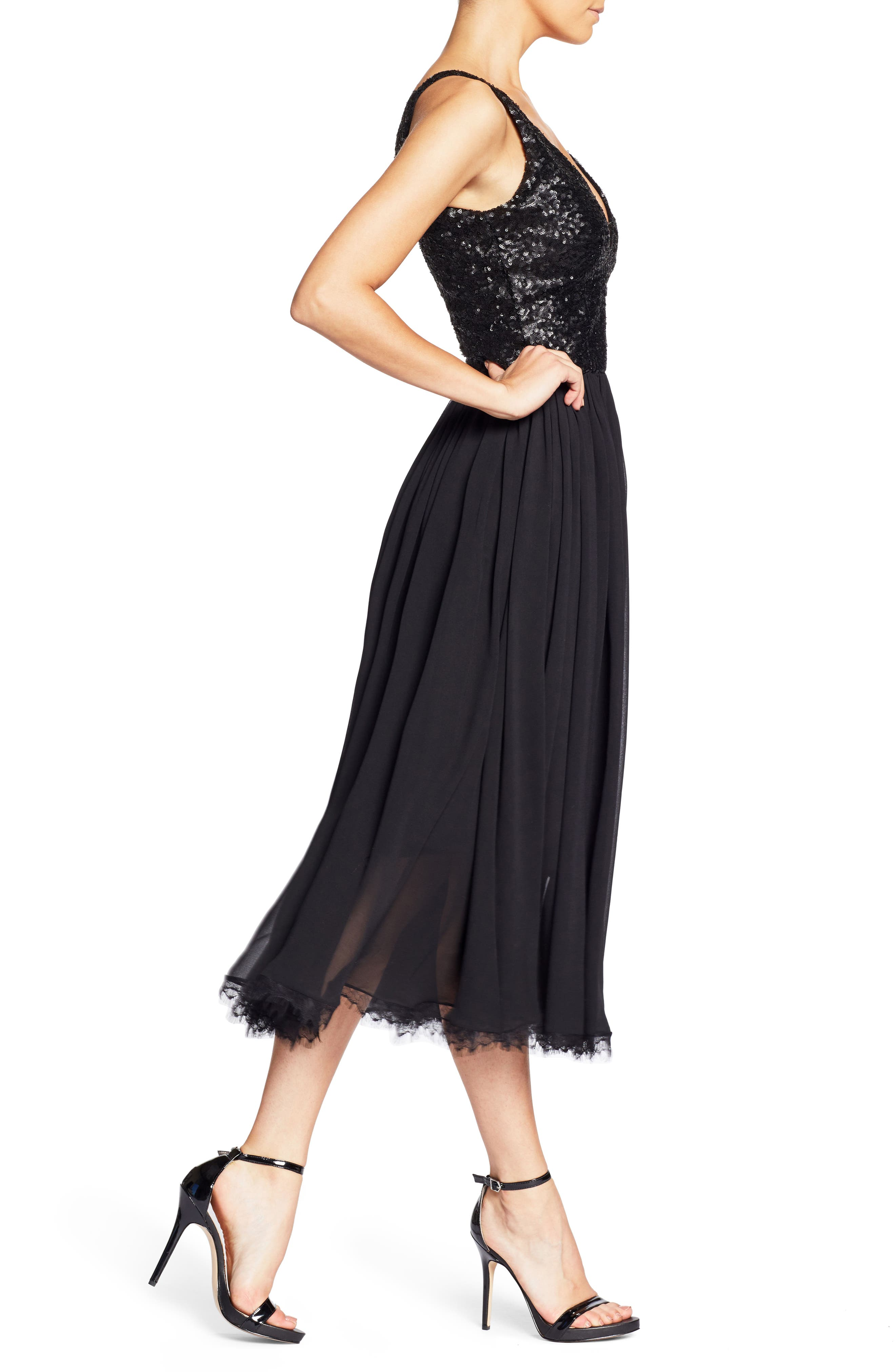 Tracy Plunging Sequin Bodice Tea Length Dress,                             Alternate thumbnail 3, color,                             008
