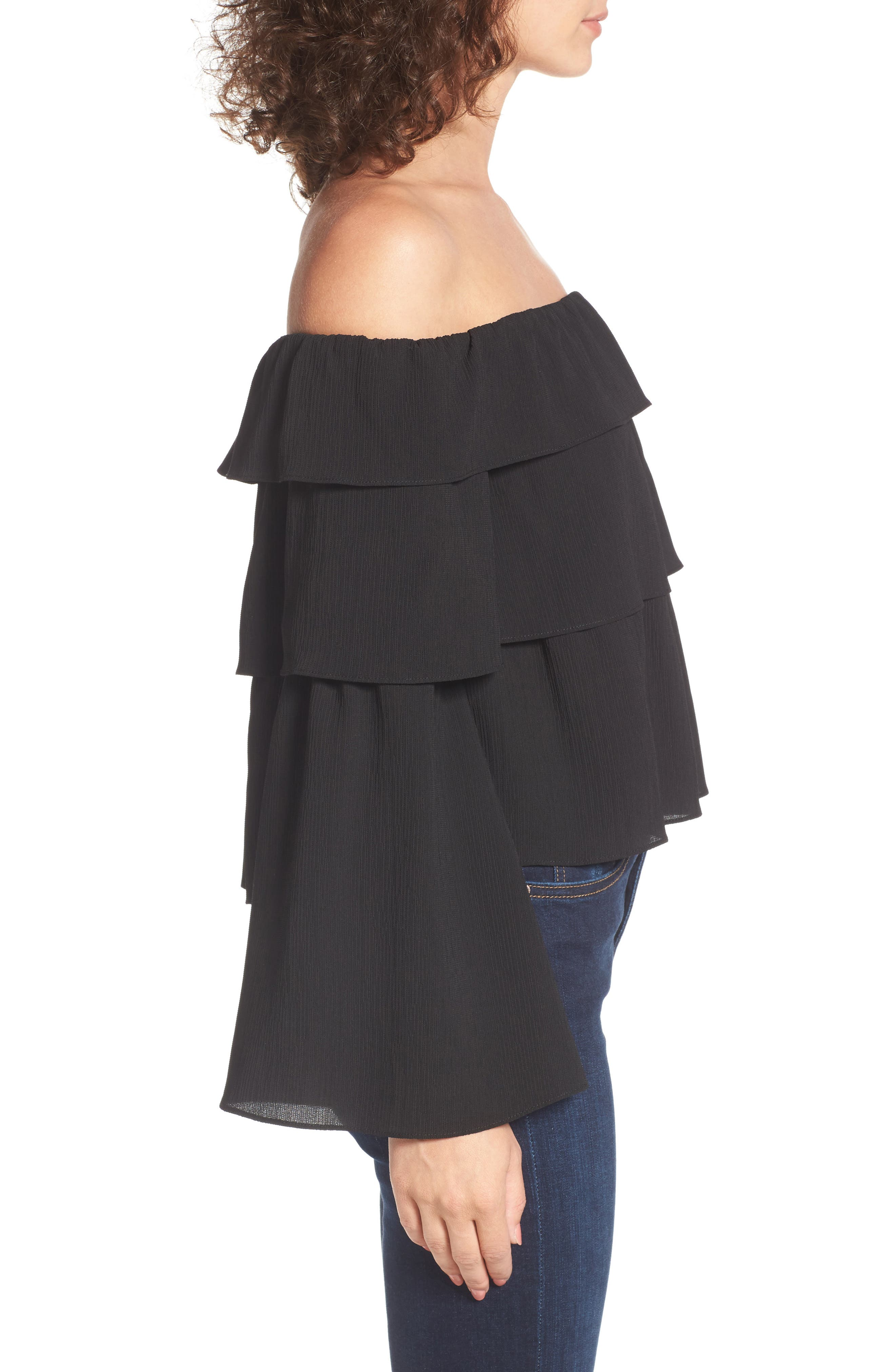Ruffle Off the Shoulder Top,                             Alternate thumbnail 3, color,                             001