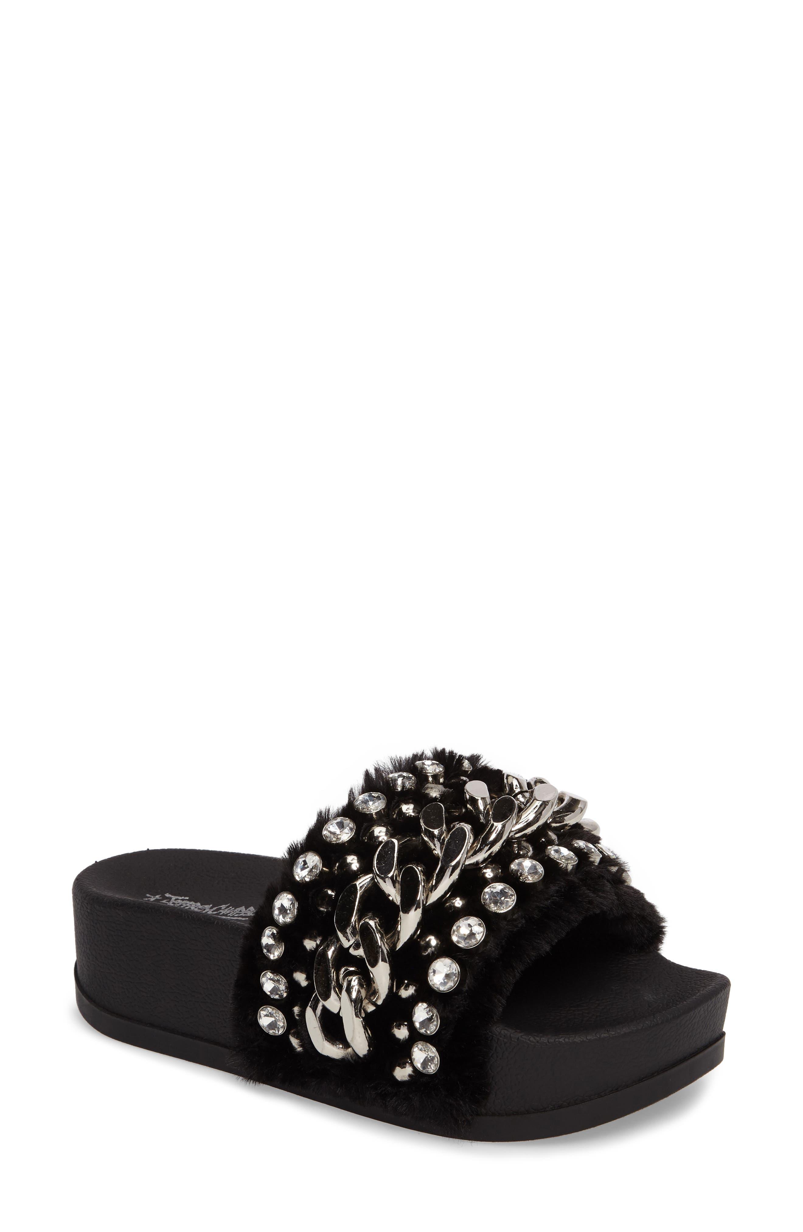 Edie Faux Fur Slide Sandal,                         Main,                         color, 007