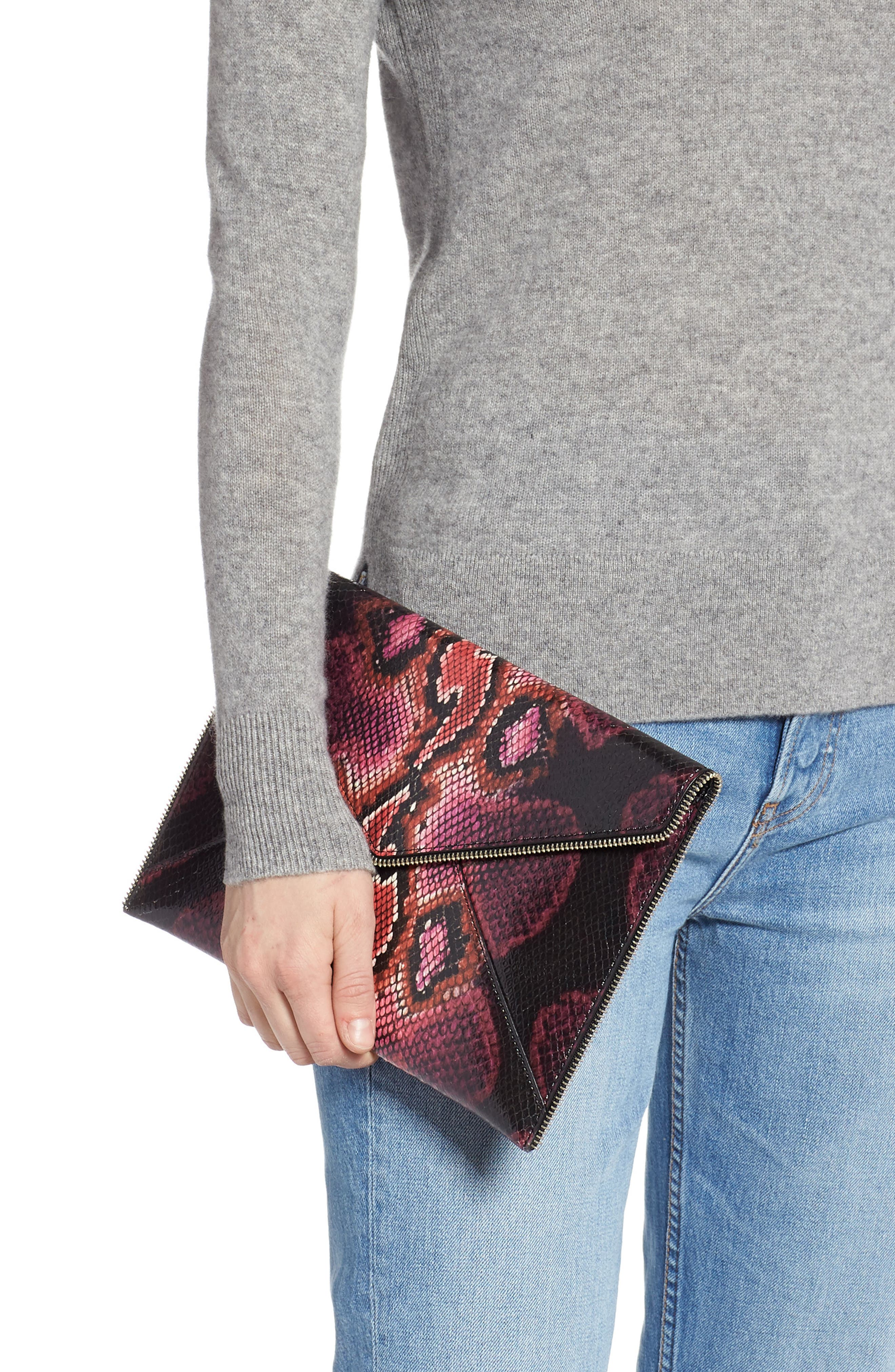 REBECCA MINKOFF,                             Leo Snake Embossed Leather Clutch,                             Alternate thumbnail 2, color,                             PINK MULTI