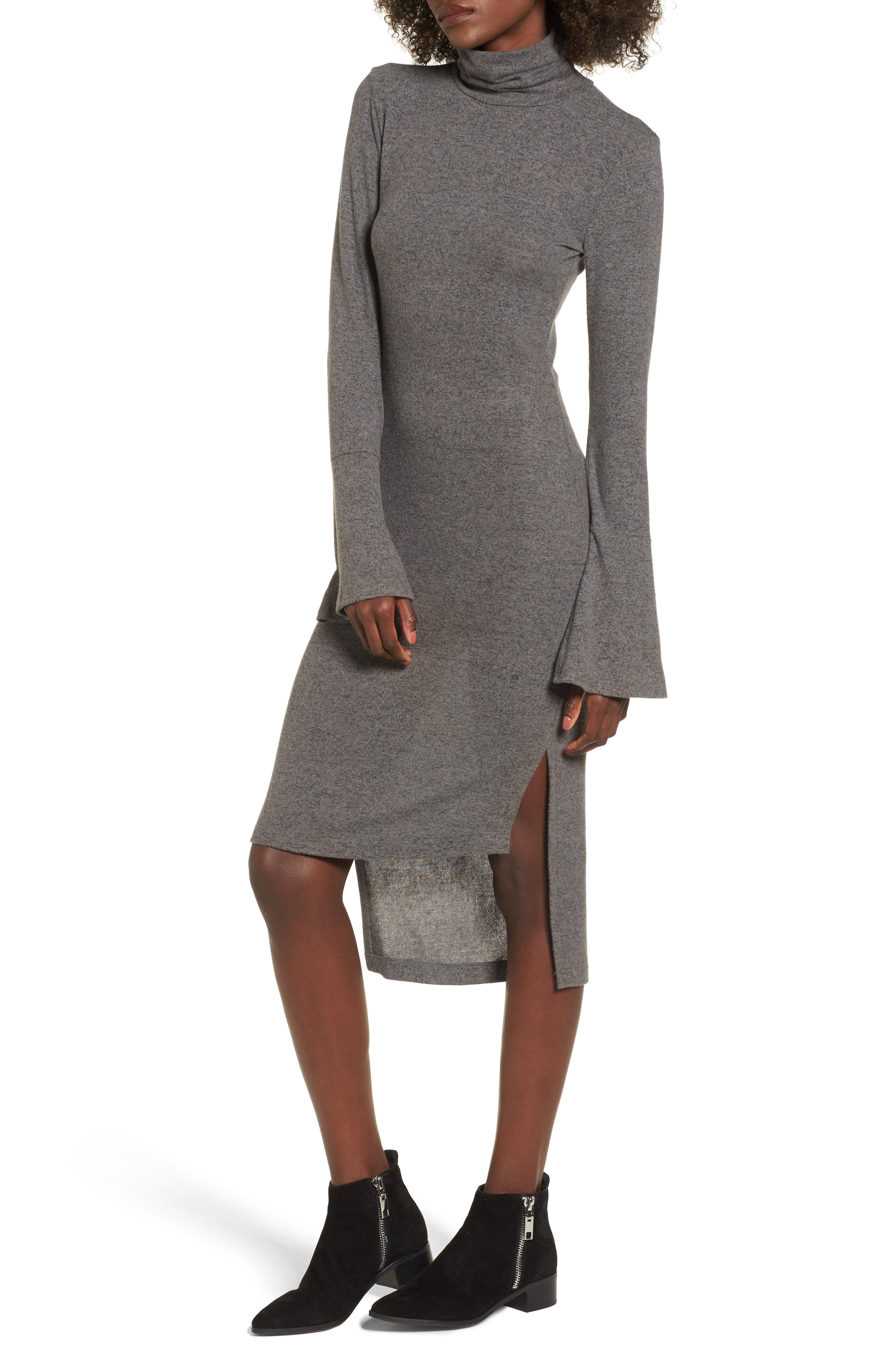 Bell Sleeve Turtleneck Midi Dress,                             Main thumbnail 1, color,                             020
