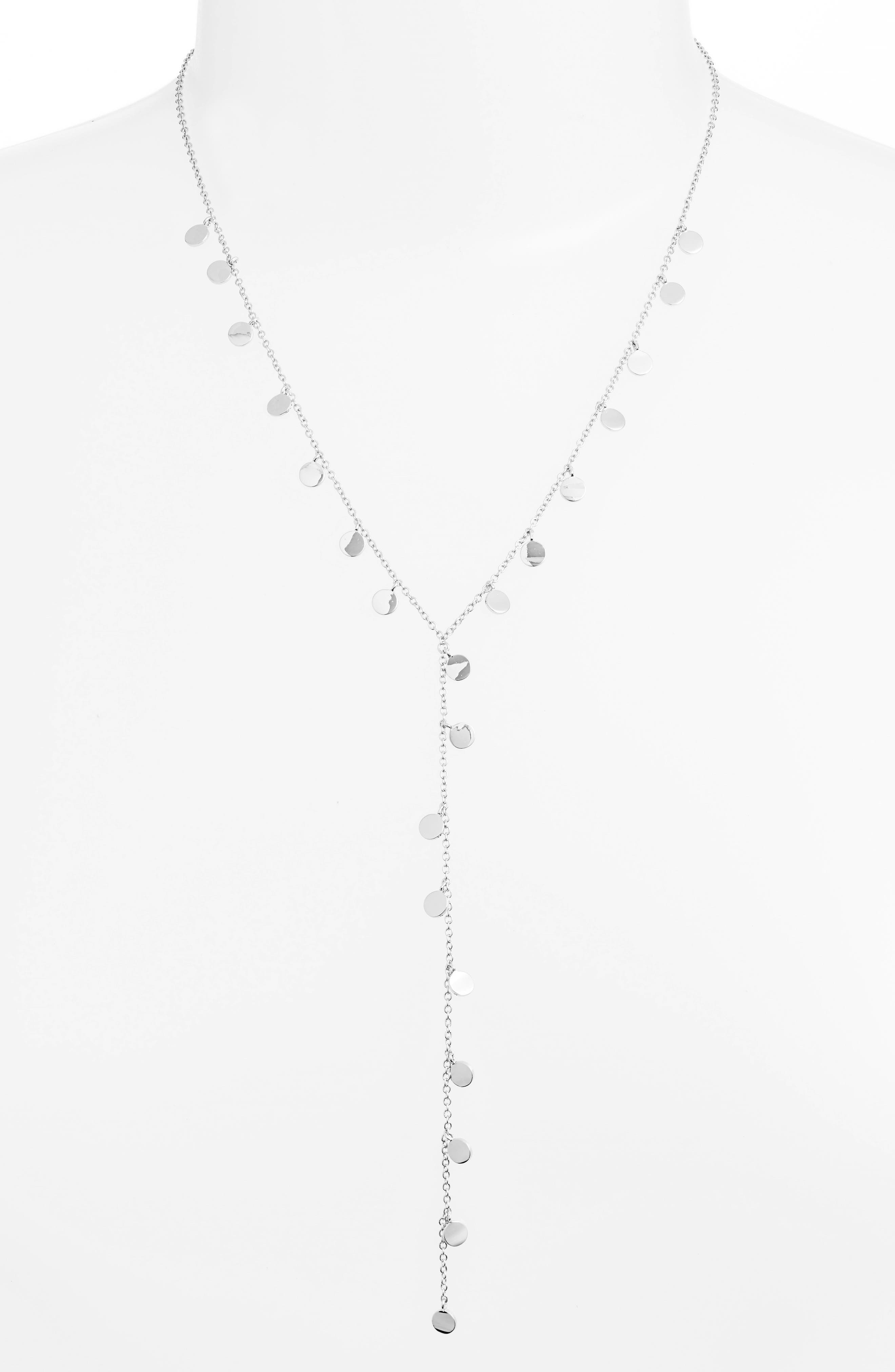 Mini Disc Lariat Necklace,                         Main,                         color, SILVER