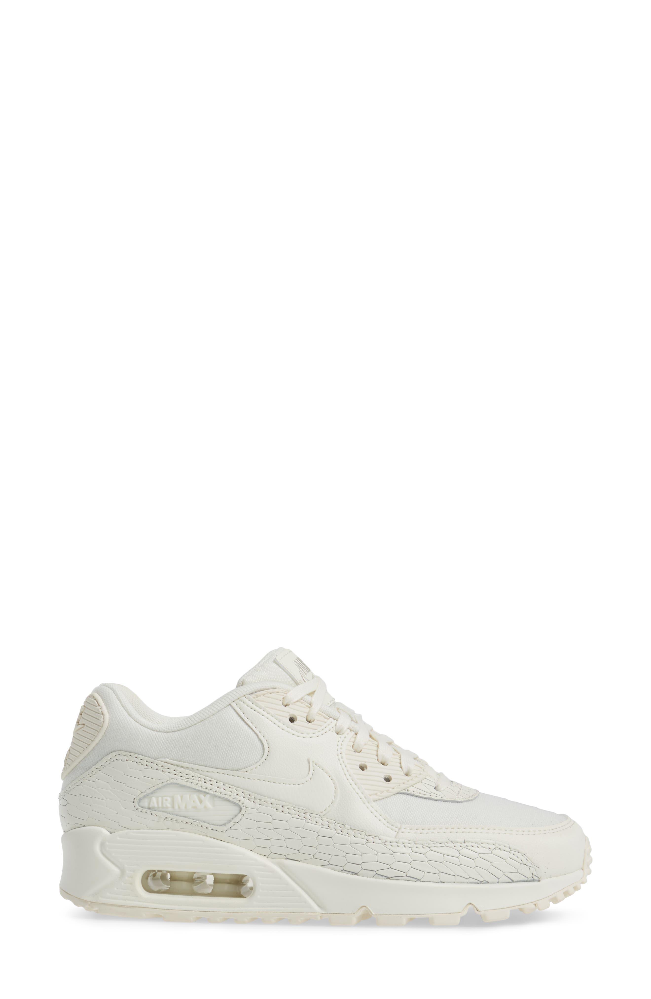 Air Max 90 Premium Leather Sneaker,                             Alternate thumbnail 3, color,                             250