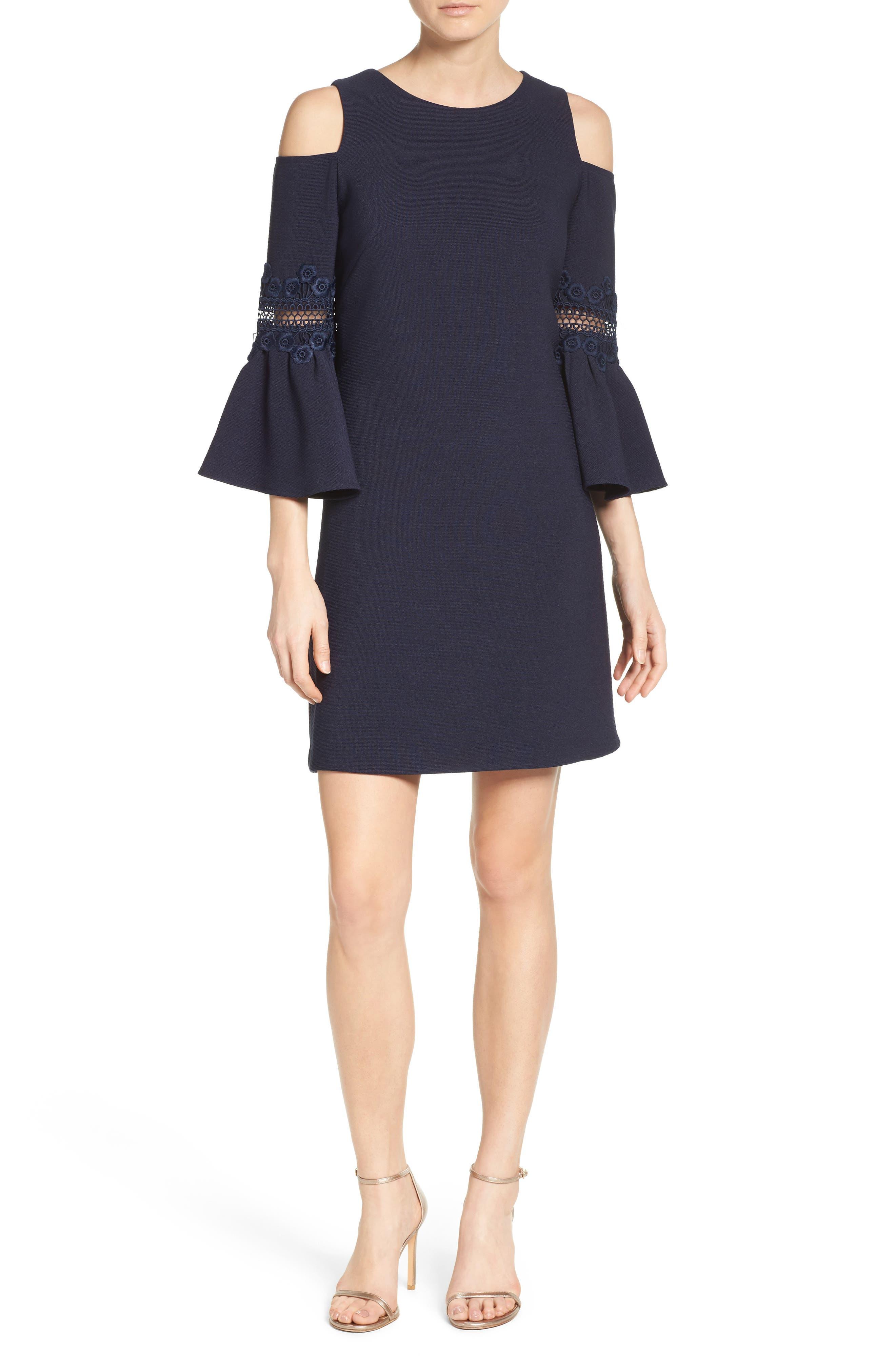 Lace Appliqué Crepe Cold Shoulder Dress,                             Alternate thumbnail 6, color,                             410