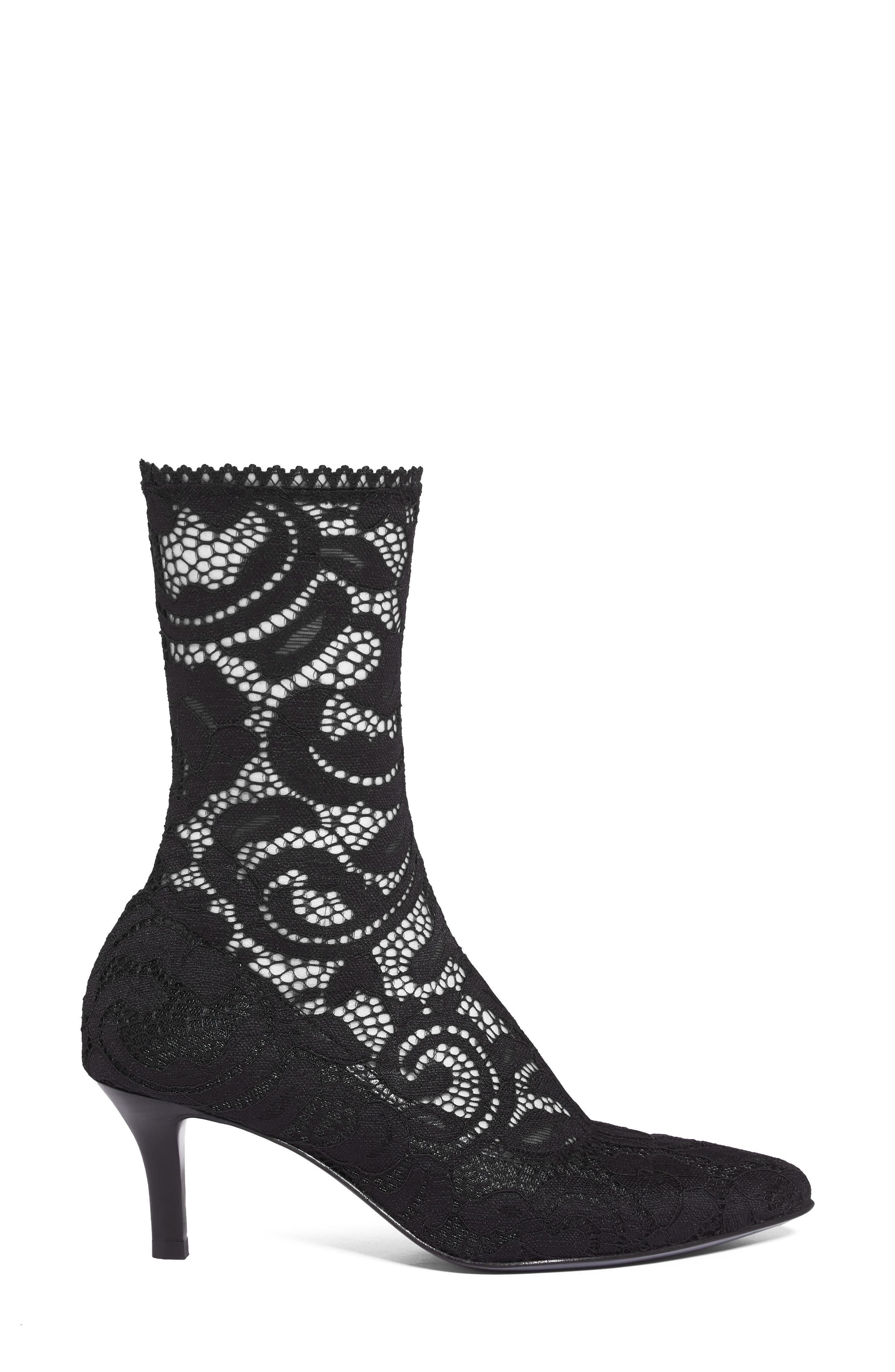 Queen Stretch Lace Sock Bootie,                             Alternate thumbnail 3, color,                             001