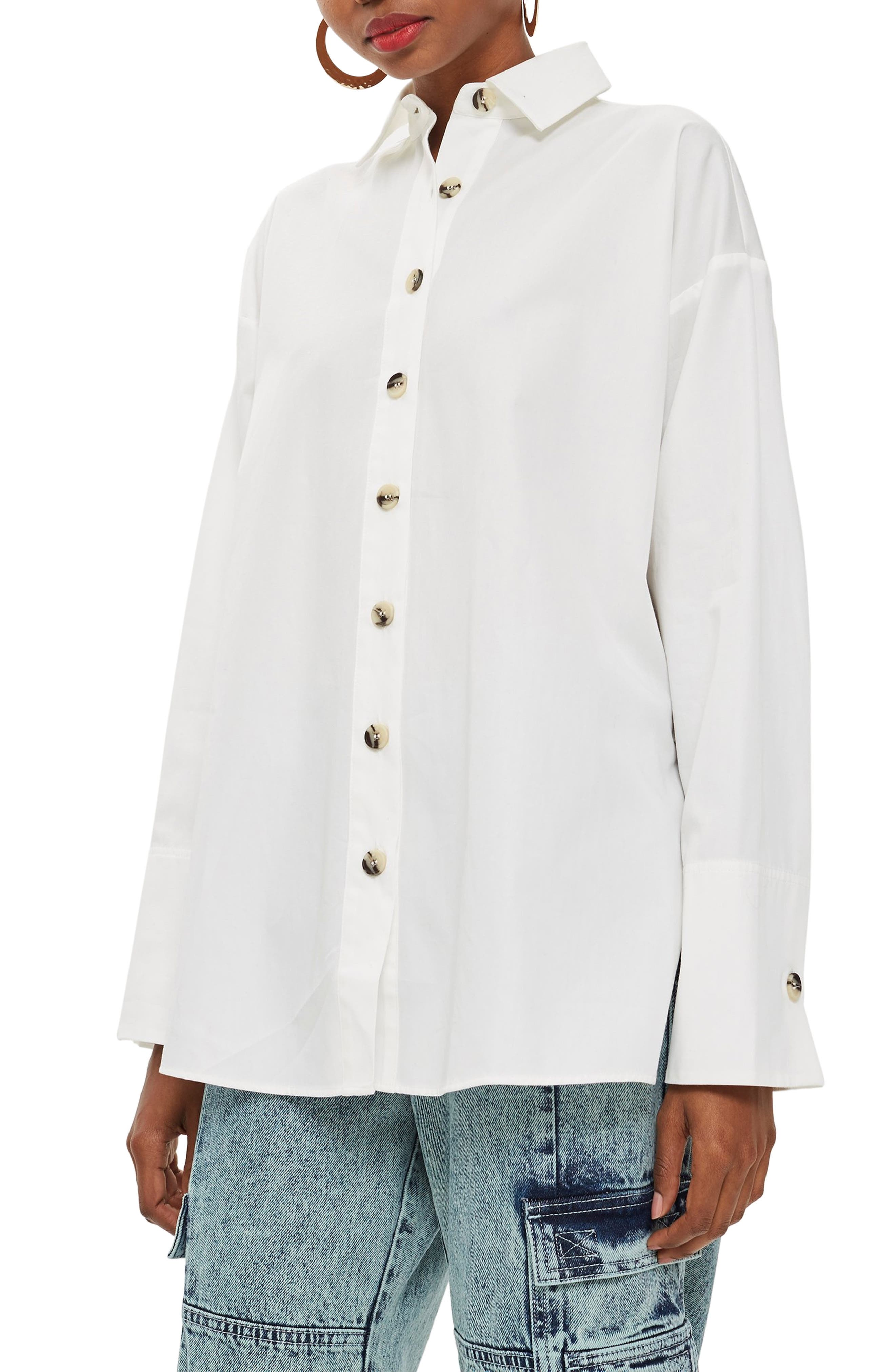 Oversized Split Side Cotton Shirt,                         Main,                         color, CREAM