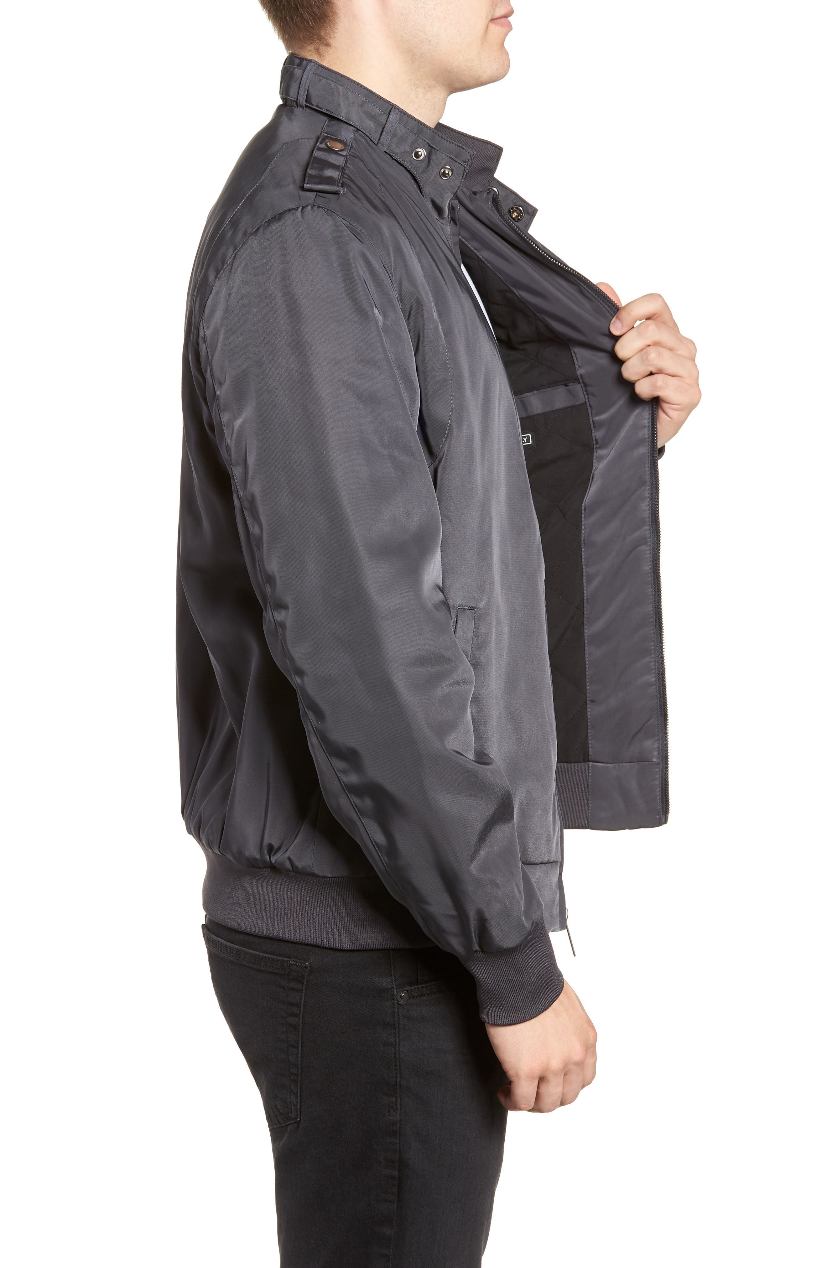 Iconic Racer Jacket,                             Alternate thumbnail 3, color,                             CHARCOAL