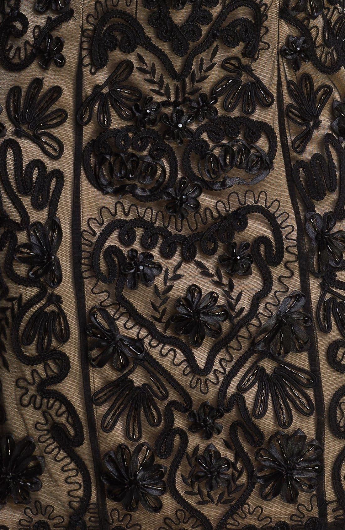 Embellished Illusion Back Sheath Dress,                             Alternate thumbnail 3, color,                             001