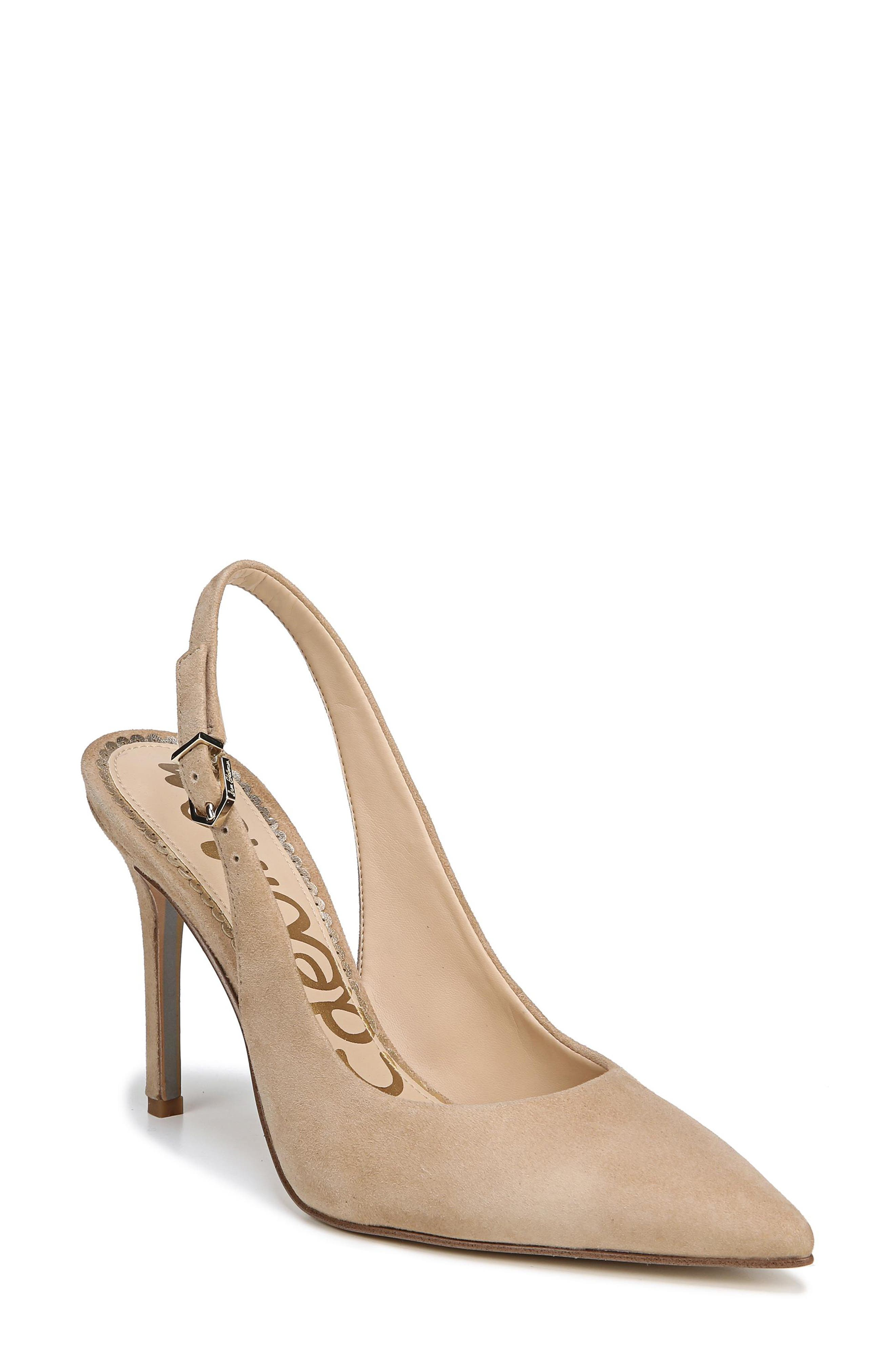 Hastings Slingback Pump,                             Main thumbnail 1, color,                             OATMEAL SUEDE LEATHER