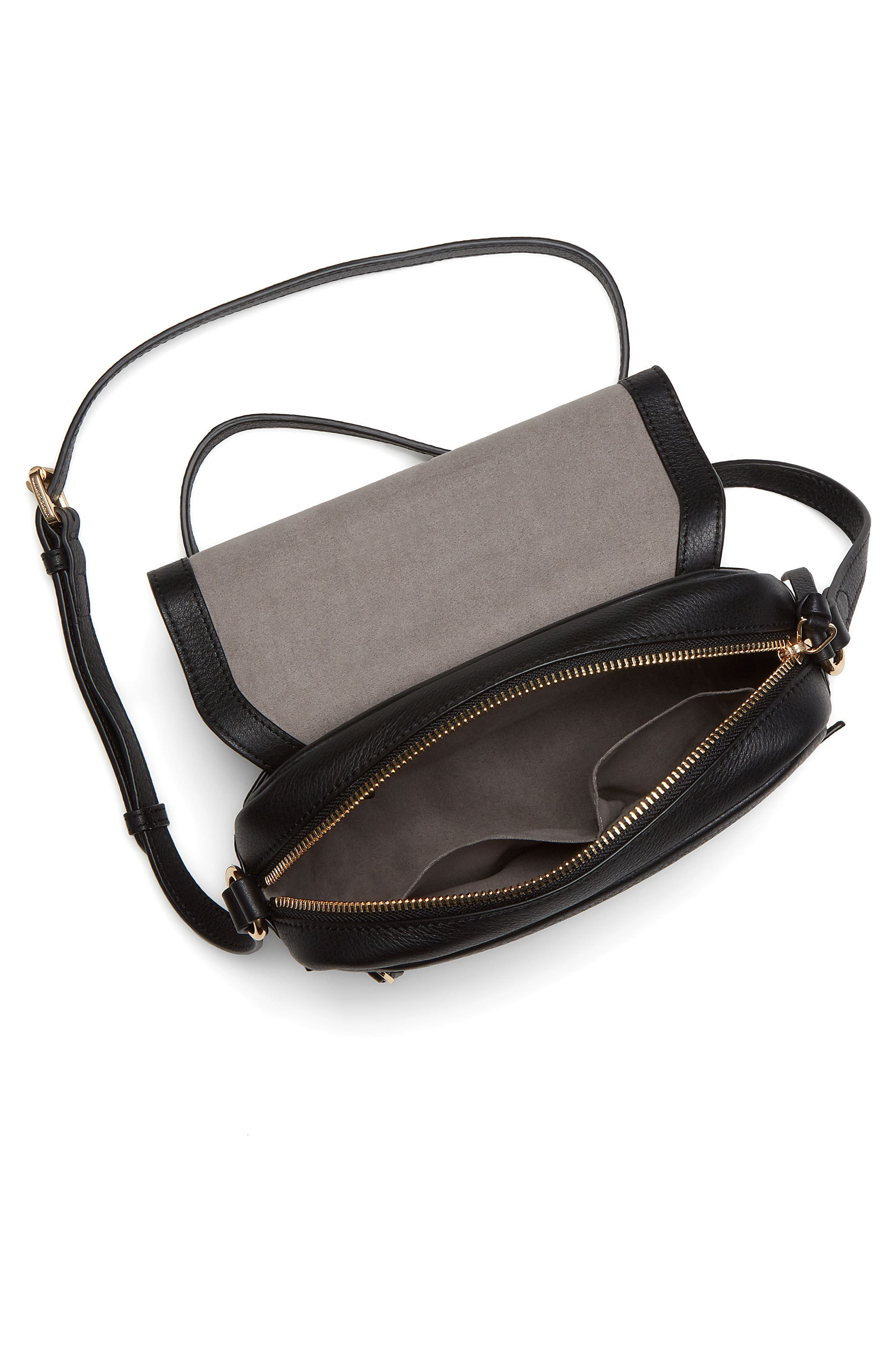 Stina Leather Crossbody Bag,                             Alternate thumbnail 3, color,                             001