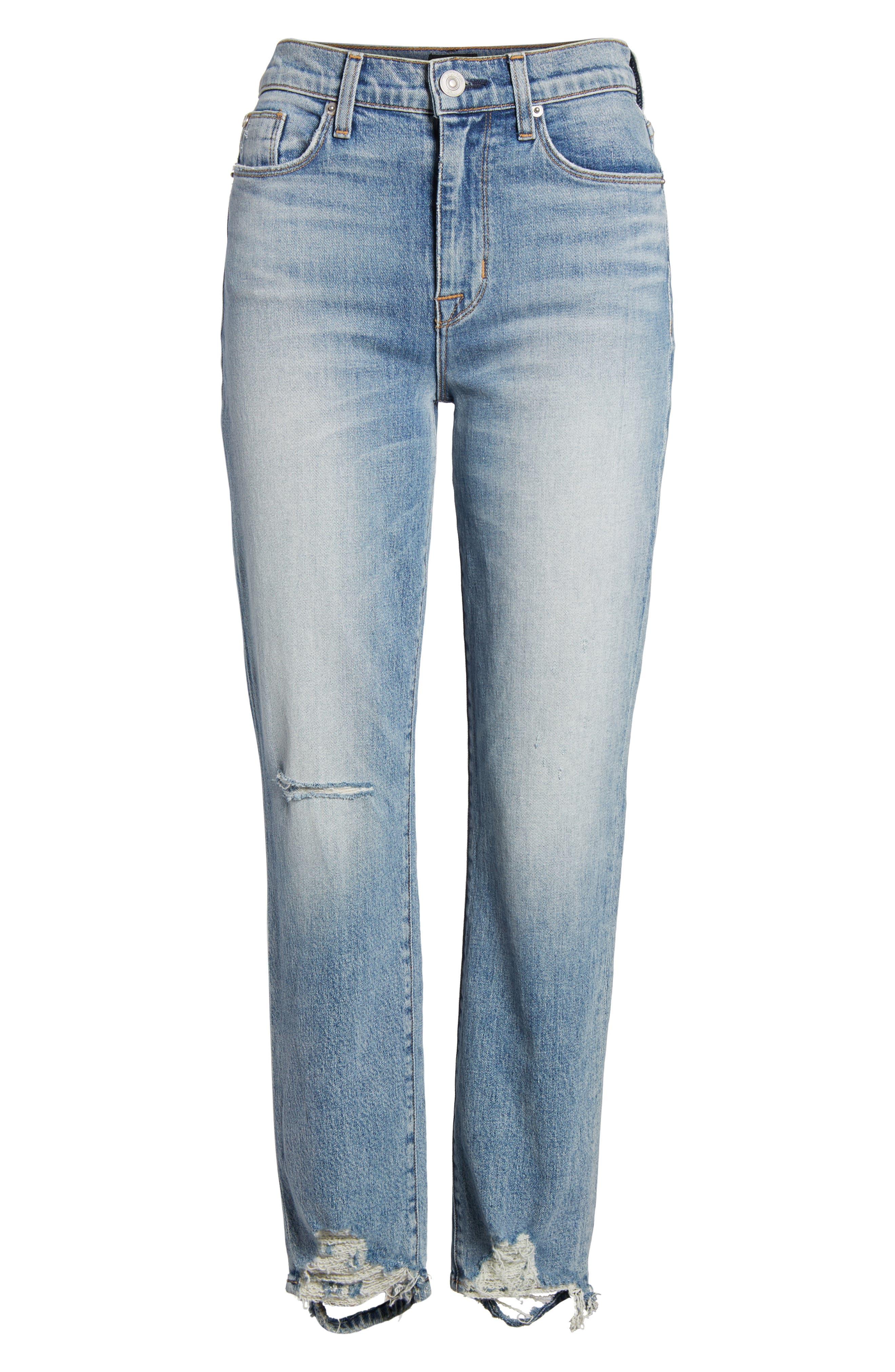 Zoeey High Waist Ankle Straight Leg Jeans,                             Alternate thumbnail 7, color,                             456