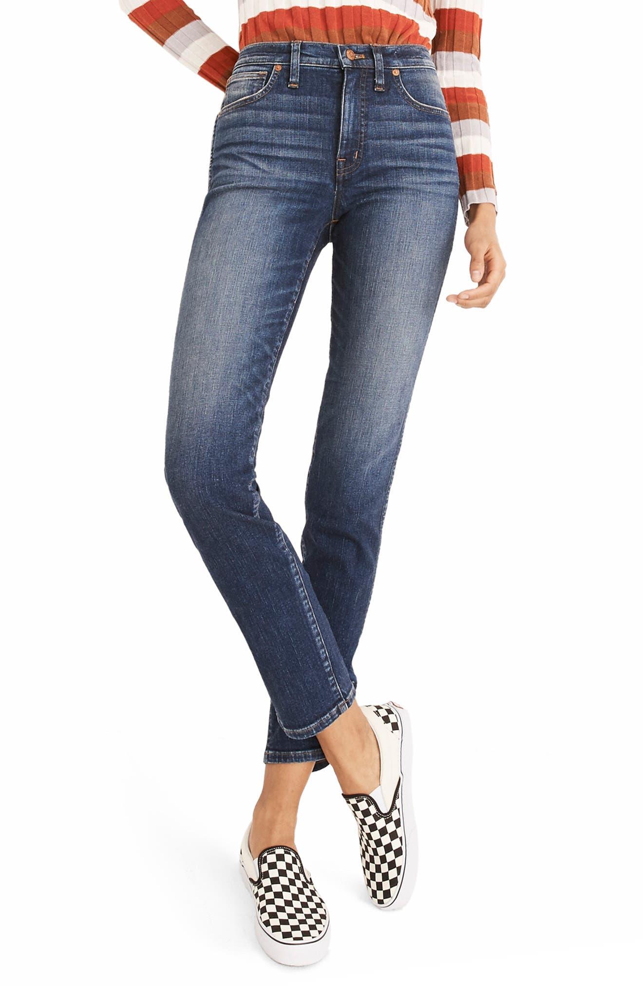 High Waist Slim Straight Leg Jeans,                             Main thumbnail 1, color,                             HAMMOND