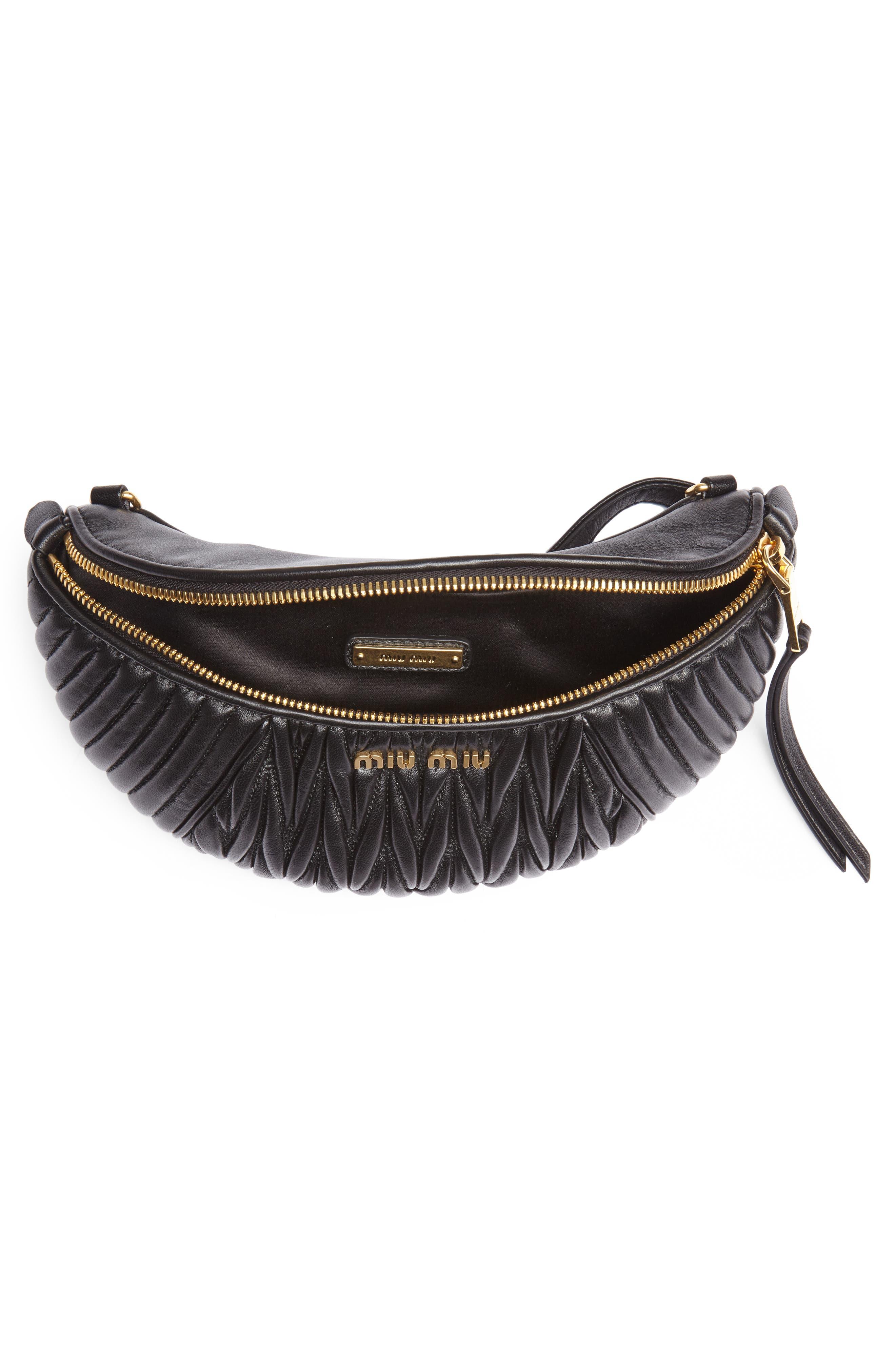 Matelassé Lambskin Leather Belt Bag,                             Alternate thumbnail 6, color,                             NERO
