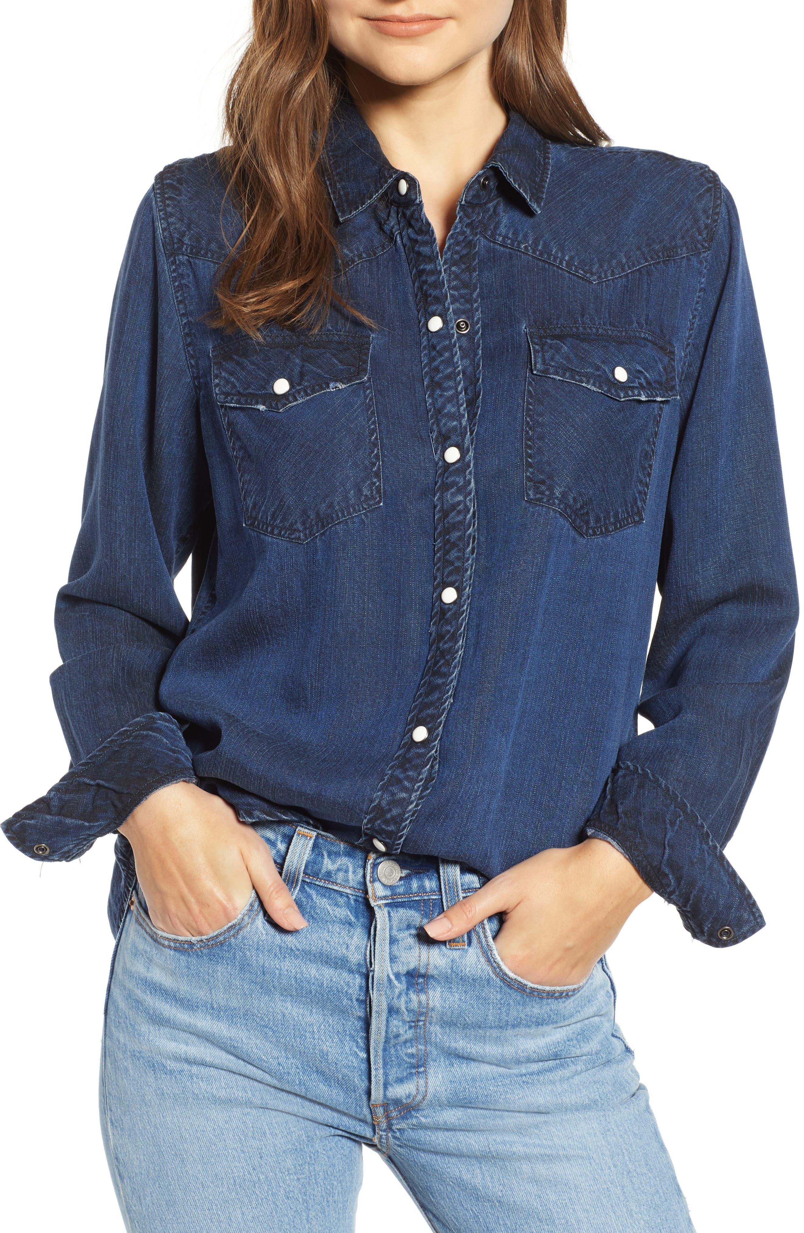 West Button Down Shirt,                             Main thumbnail 1, color,                             DARK VINTAGE LAPIS COAST WHITE