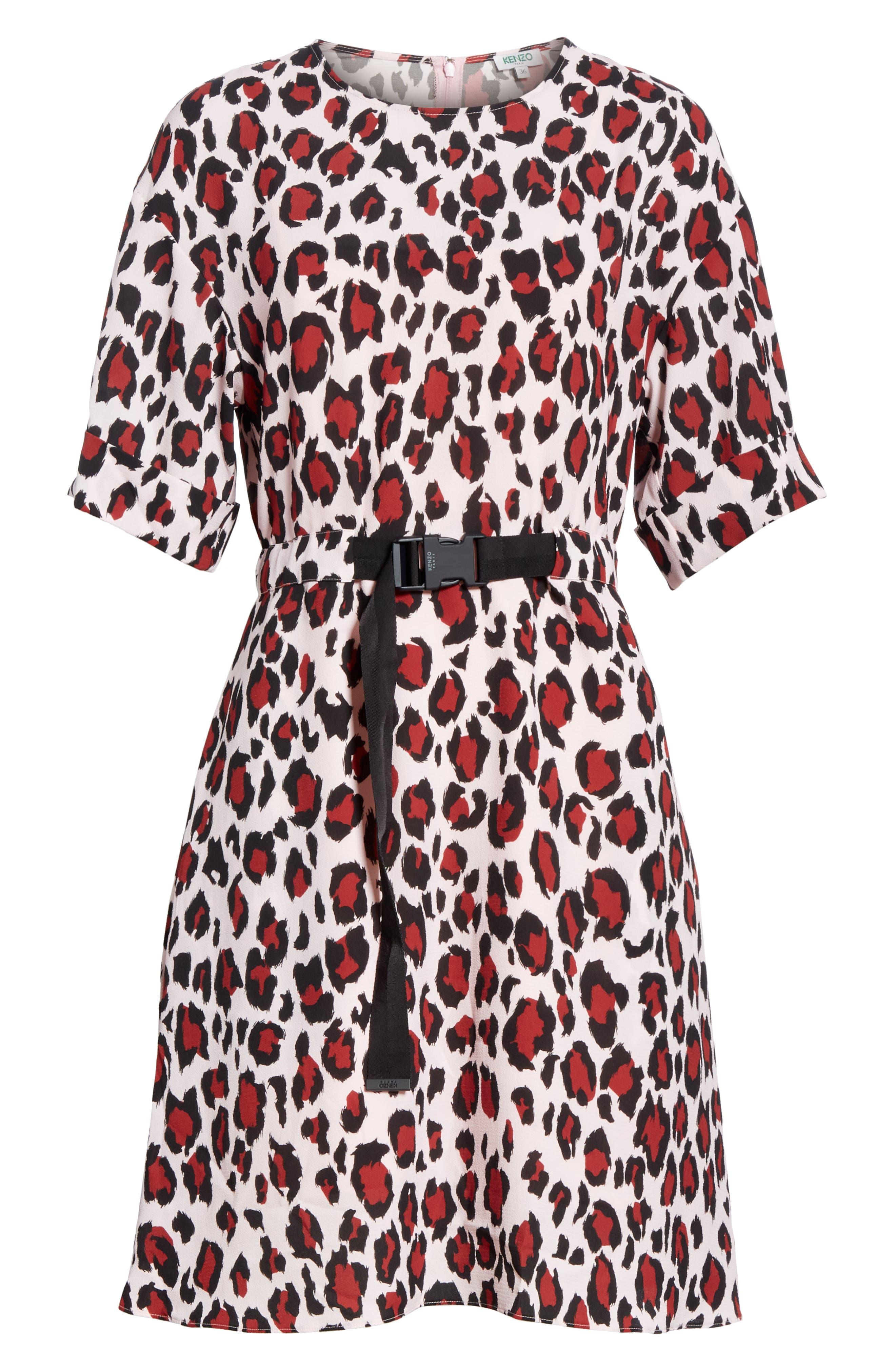 Animal Print Belted Dress,                             Alternate thumbnail 6, color,                             PINK