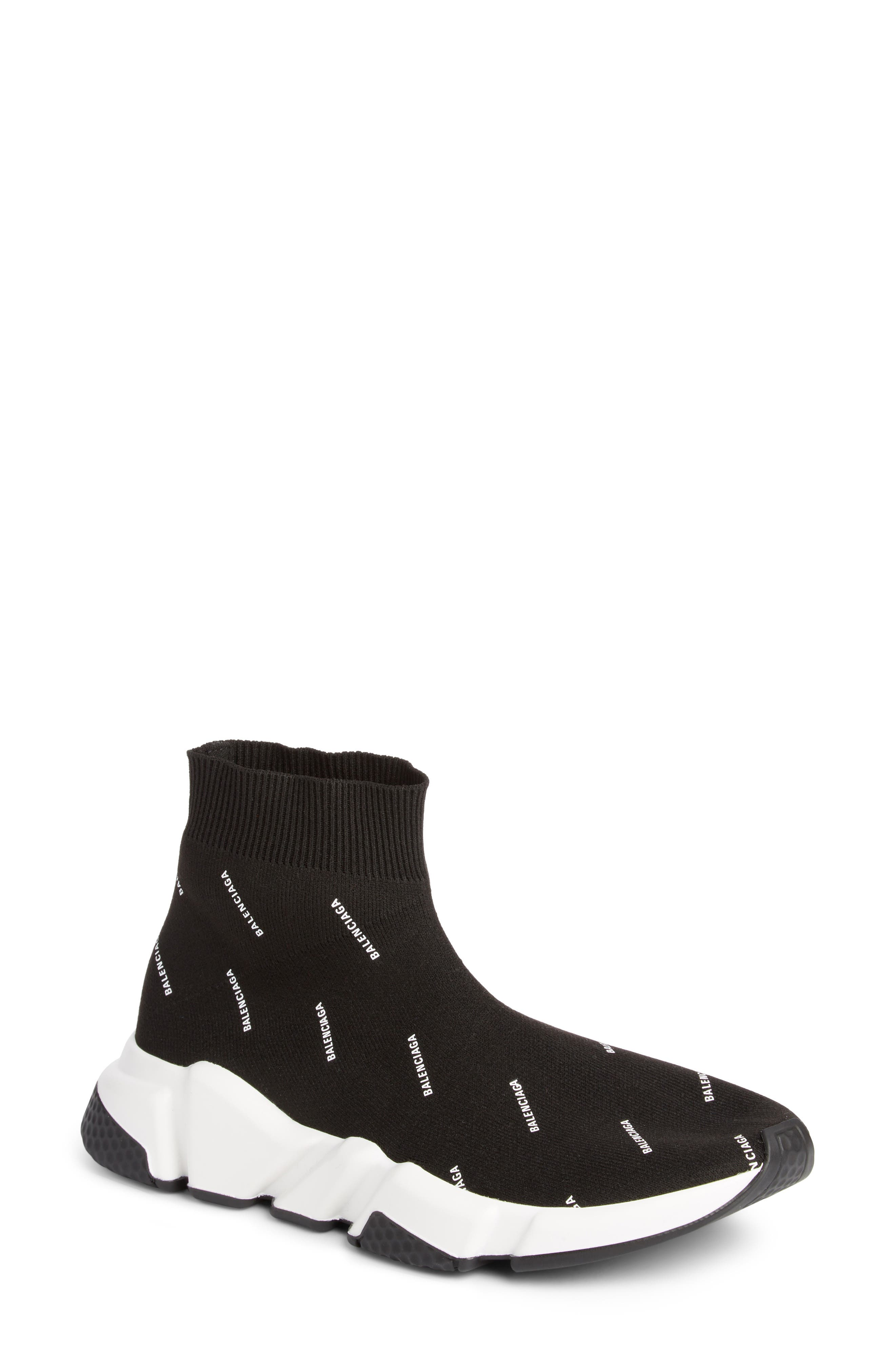 Speed Logo Sock Sneaker,                             Main thumbnail 1, color,                             BLACK/ WHITE