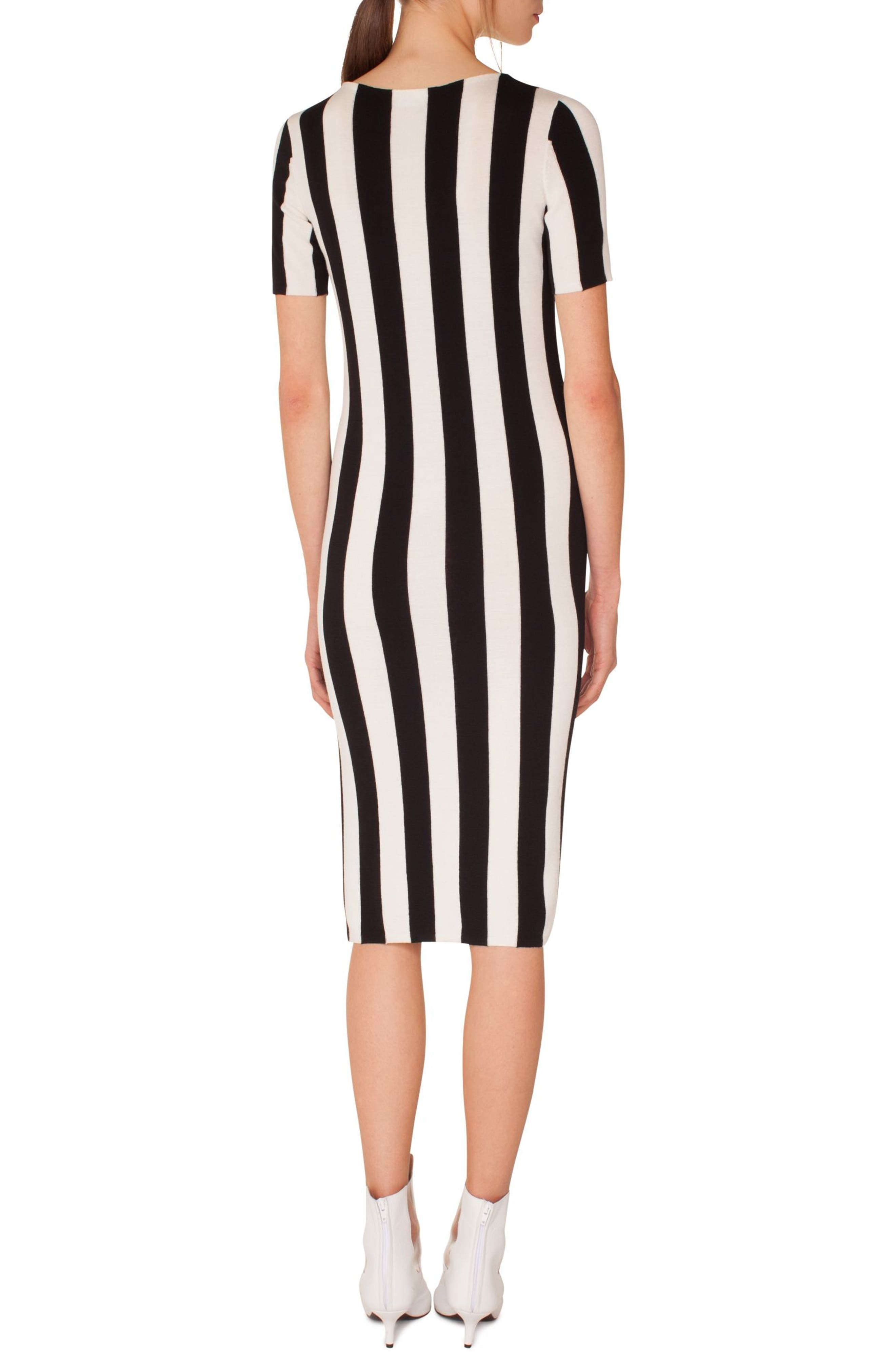 Kodak Stripe Knit Wool Midi Dress,                             Alternate thumbnail 2, color,                             BLACK-CREAM