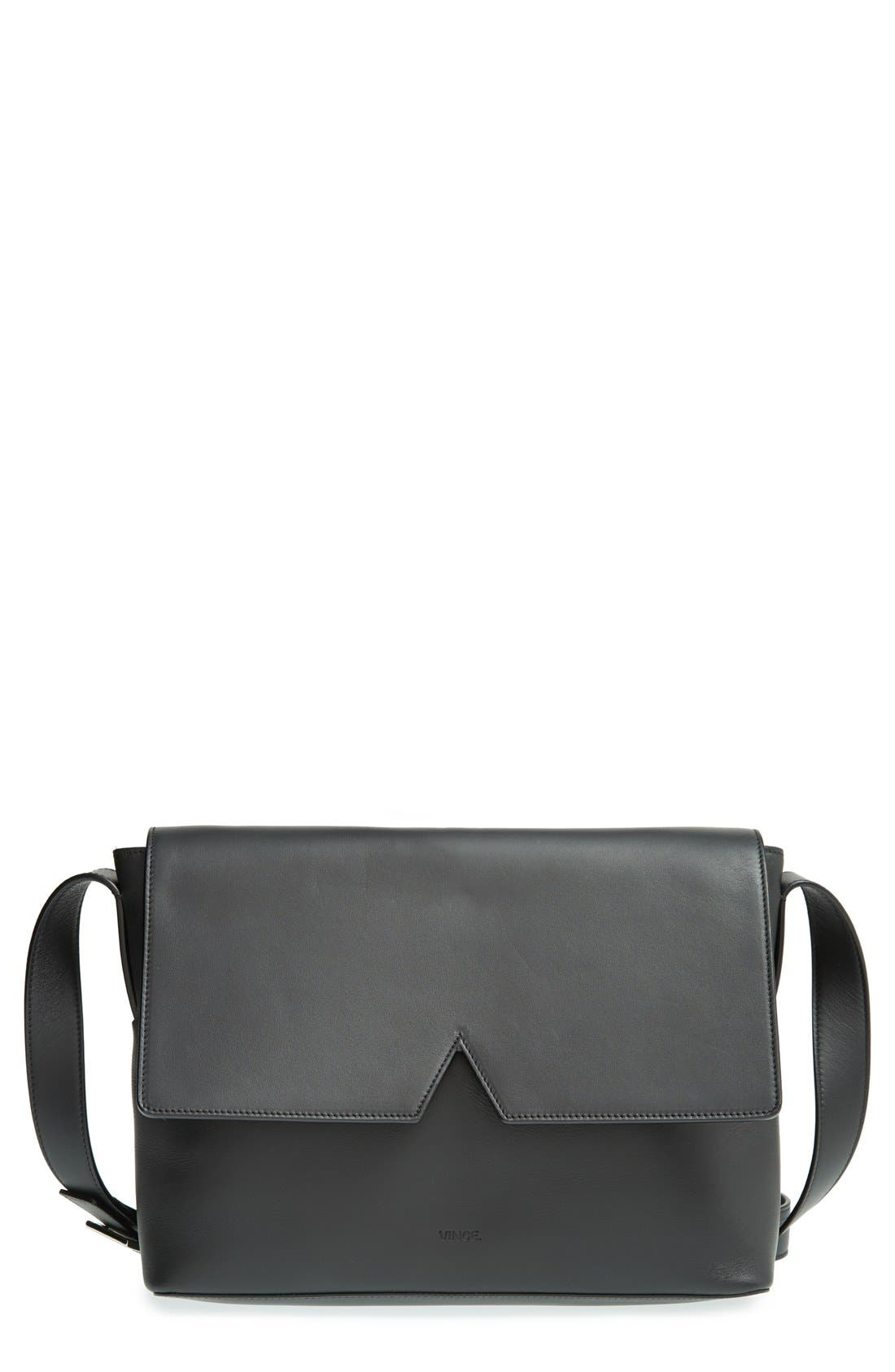 'Signature Collection - Medium' Leather Messenger Bag, Main, color, 001