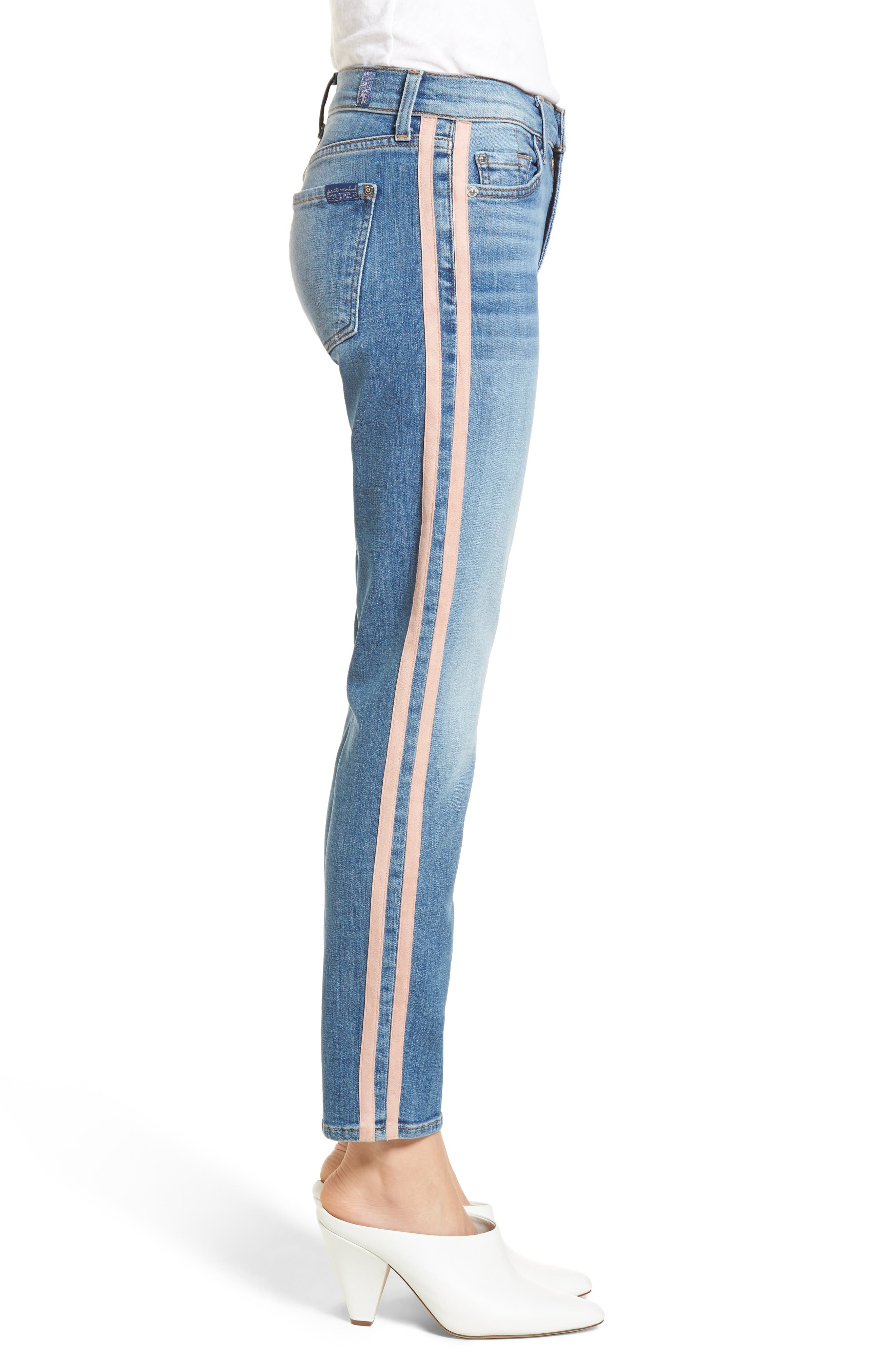 Roxanne Faux Suede Stripe Ankle Skinny Jeans,                             Alternate thumbnail 3, color,                             400