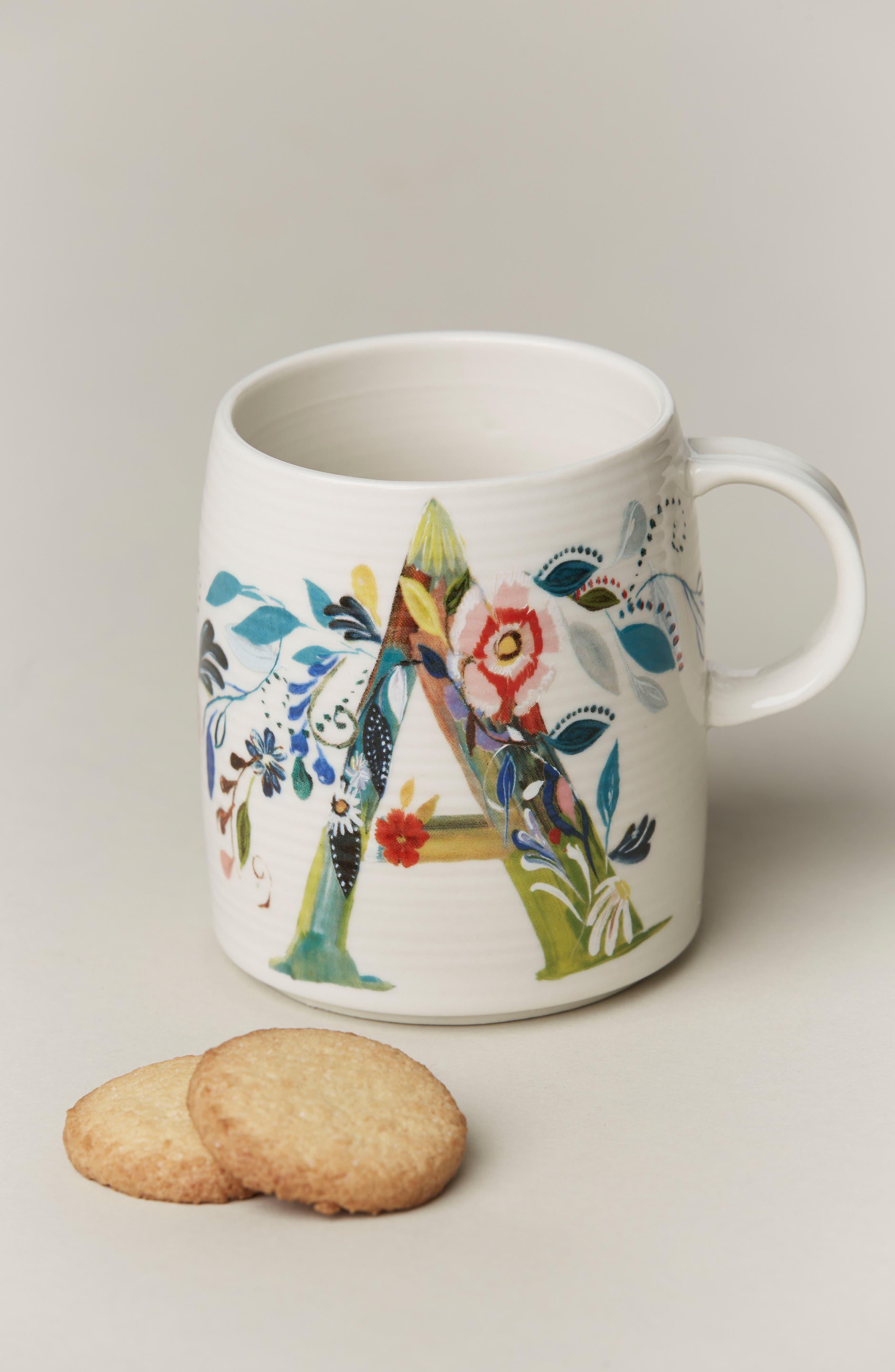 Petal Palette Monogram Mug,                             Main thumbnail 1, color,                             PINK - A