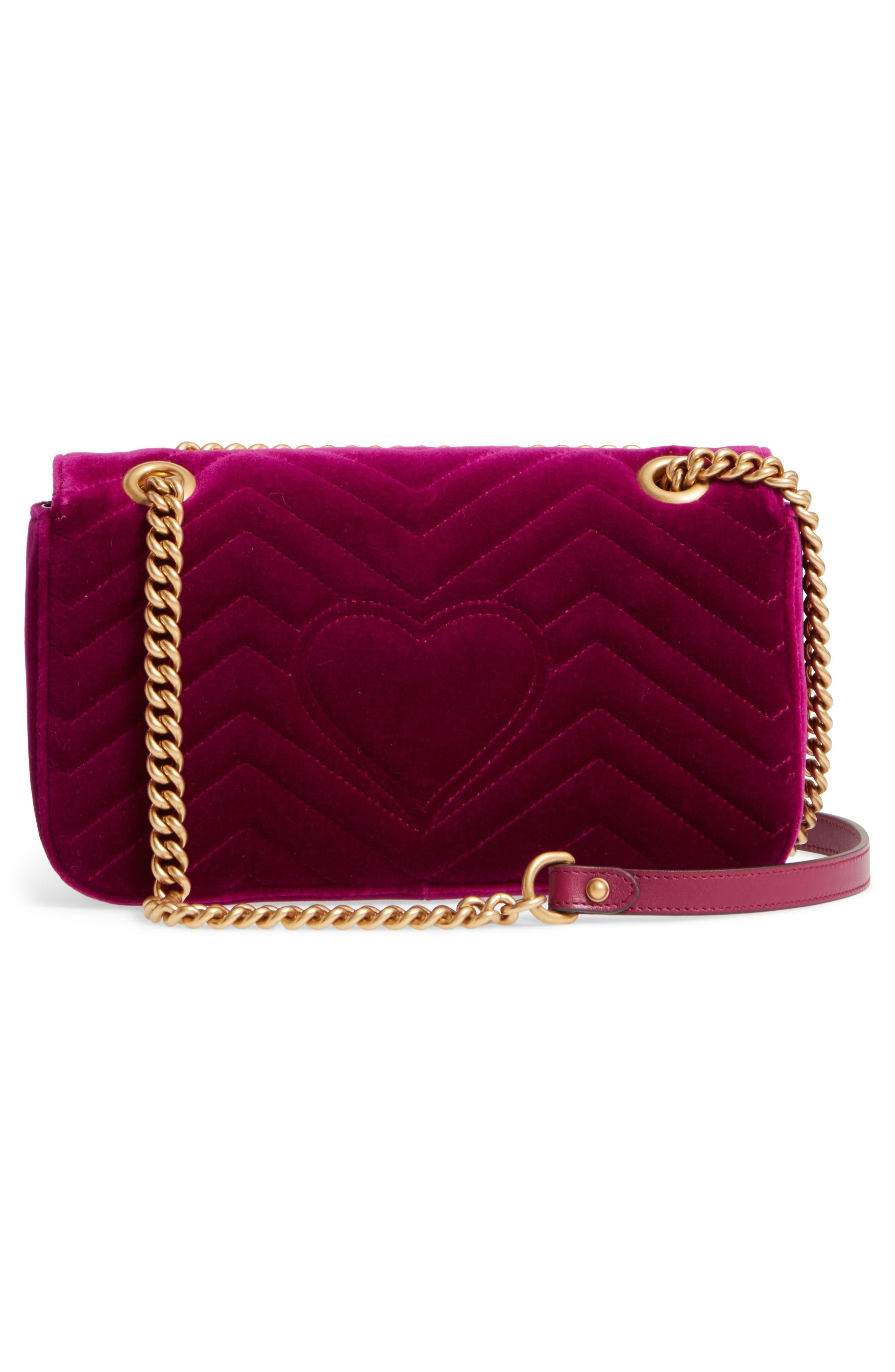 GUCCI,                             Medium GG Marmont 2.0 Matelassé Velvet Shoulder Bag,                             Alternate thumbnail 3, color,                             FUCSIA