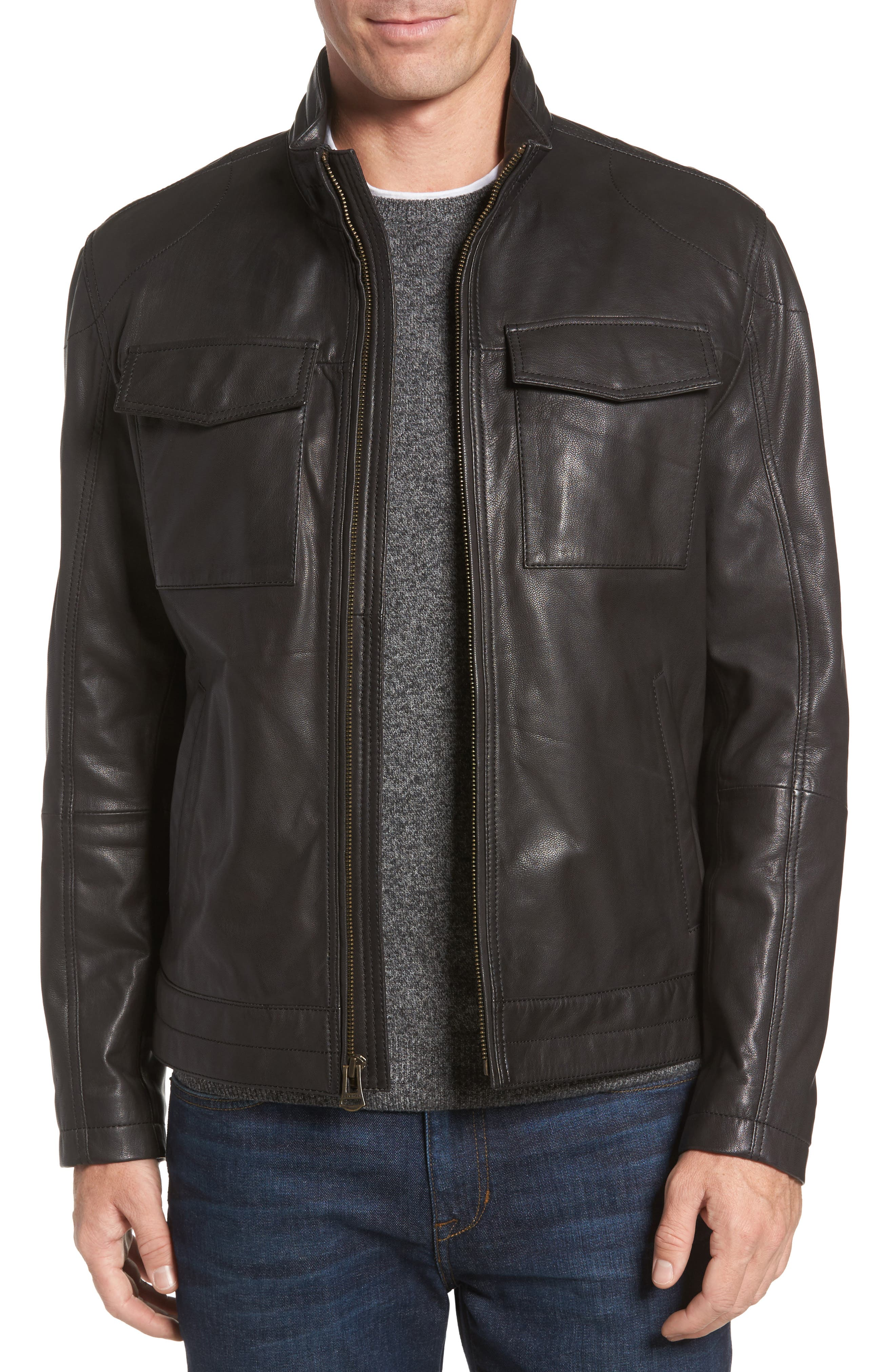 Washed Leather Trucker Jacket,                             Main thumbnail 1, color,                             BLACK