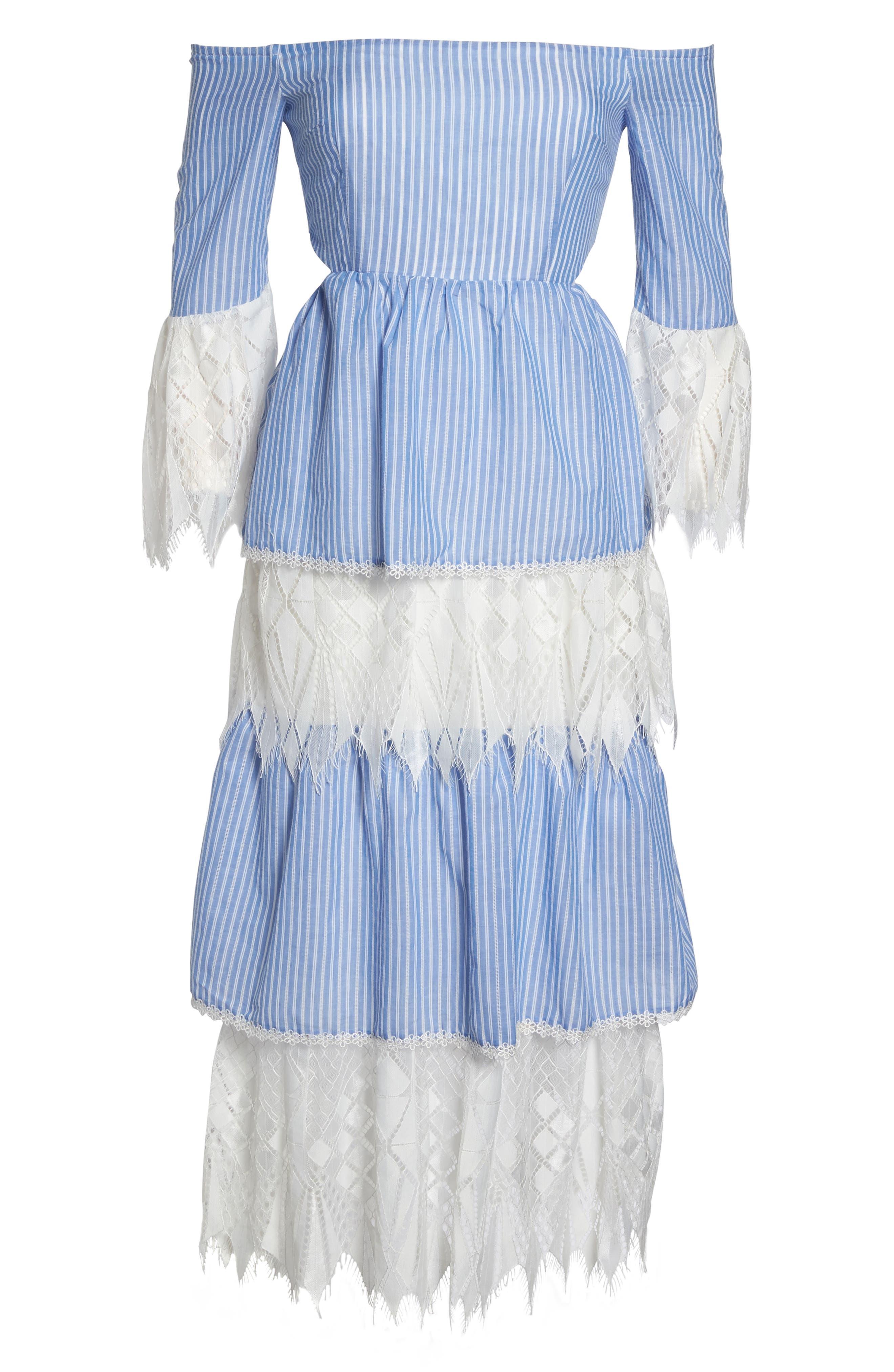 Addison Lace Tier Off the Shoulder Midi Dress,                             Alternate thumbnail 6, color,                             434