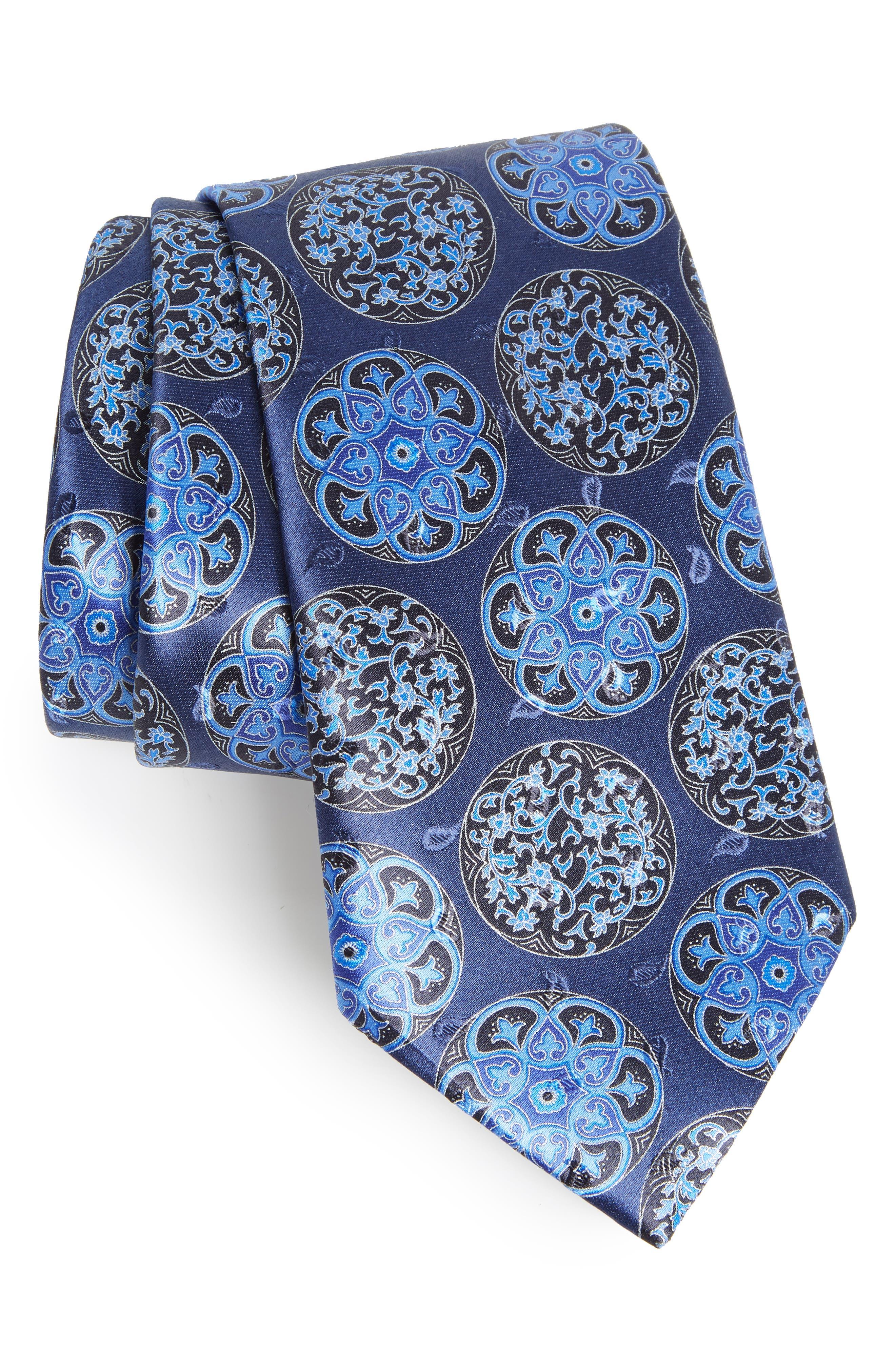 Medallion Silk Tie,                         Main,                         color, NAVY FAN