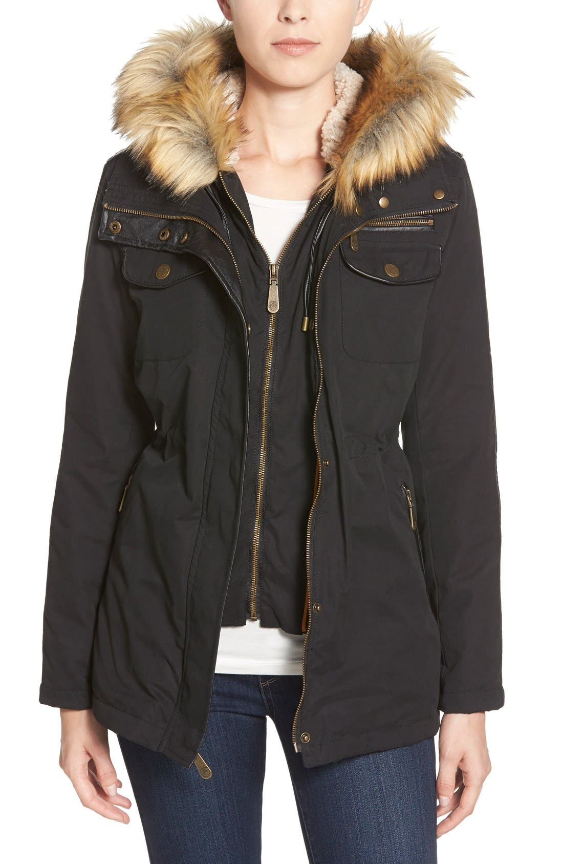 Faux Fur & Faux Leather Trim Twill Utility Parka, Main, color, 009